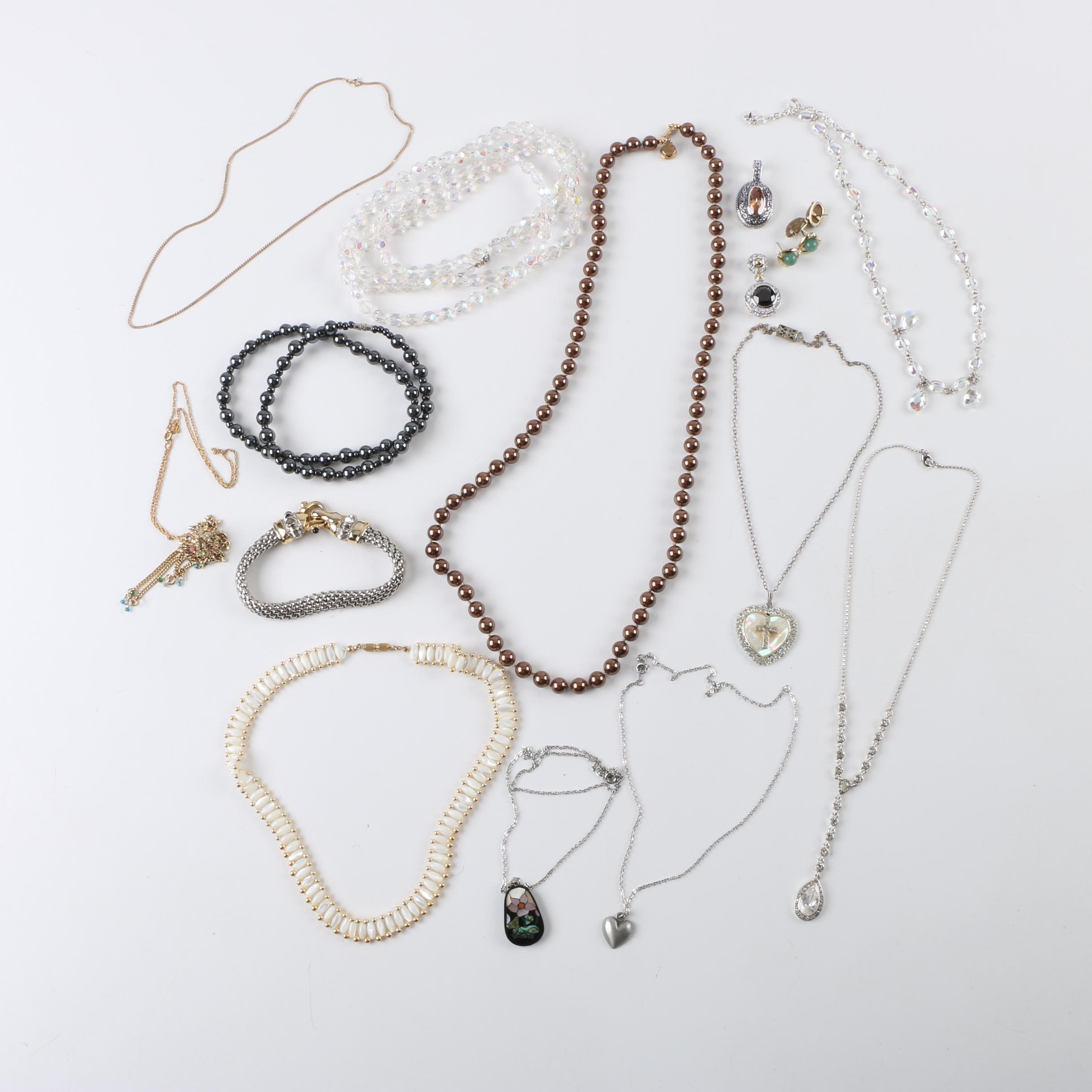 Gold-Tone Hematite, Unakite, Imitation Pearl, and Cubic Zirconia Jewelry