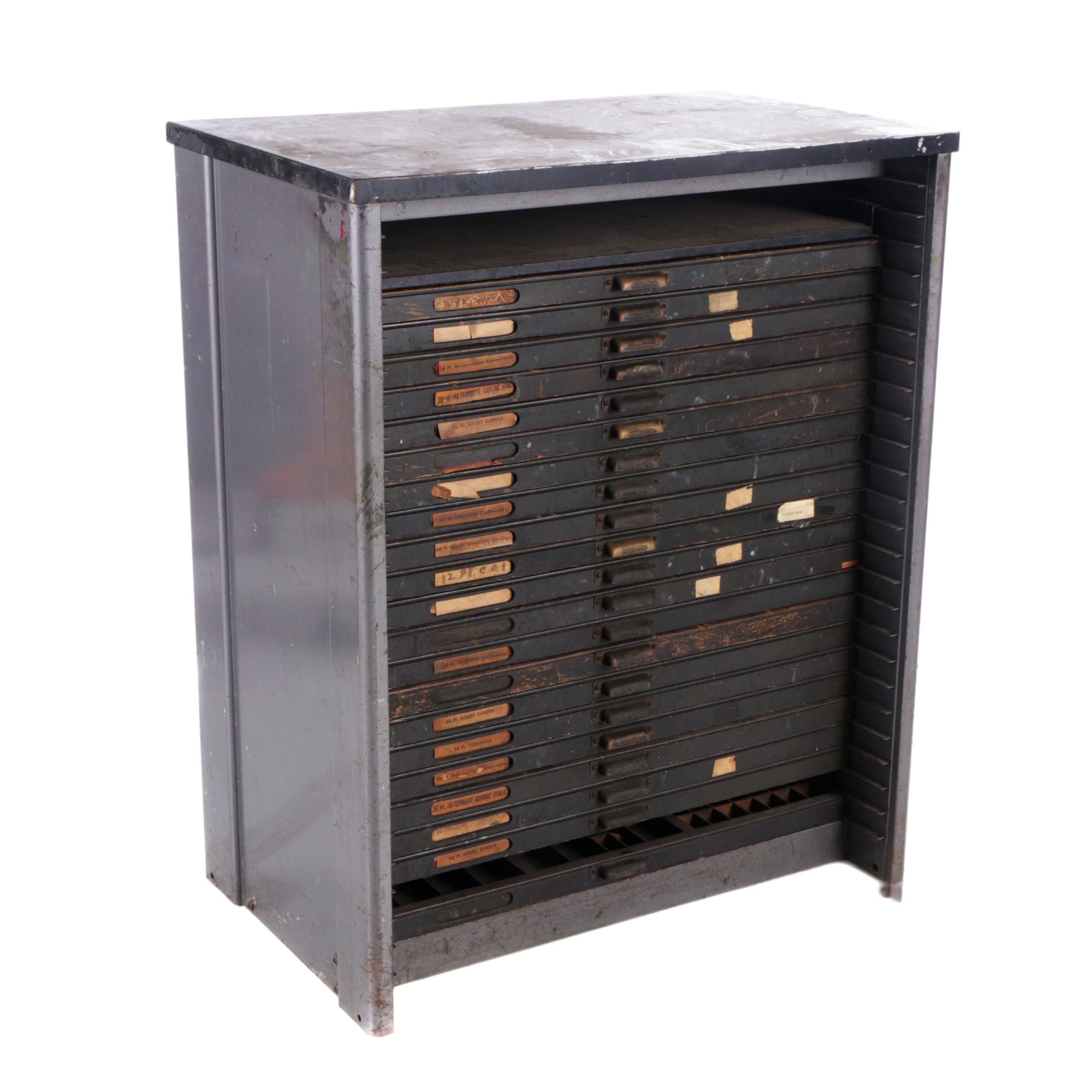 Vintage Metal Letterpress Storage Cabinet by Hamilton