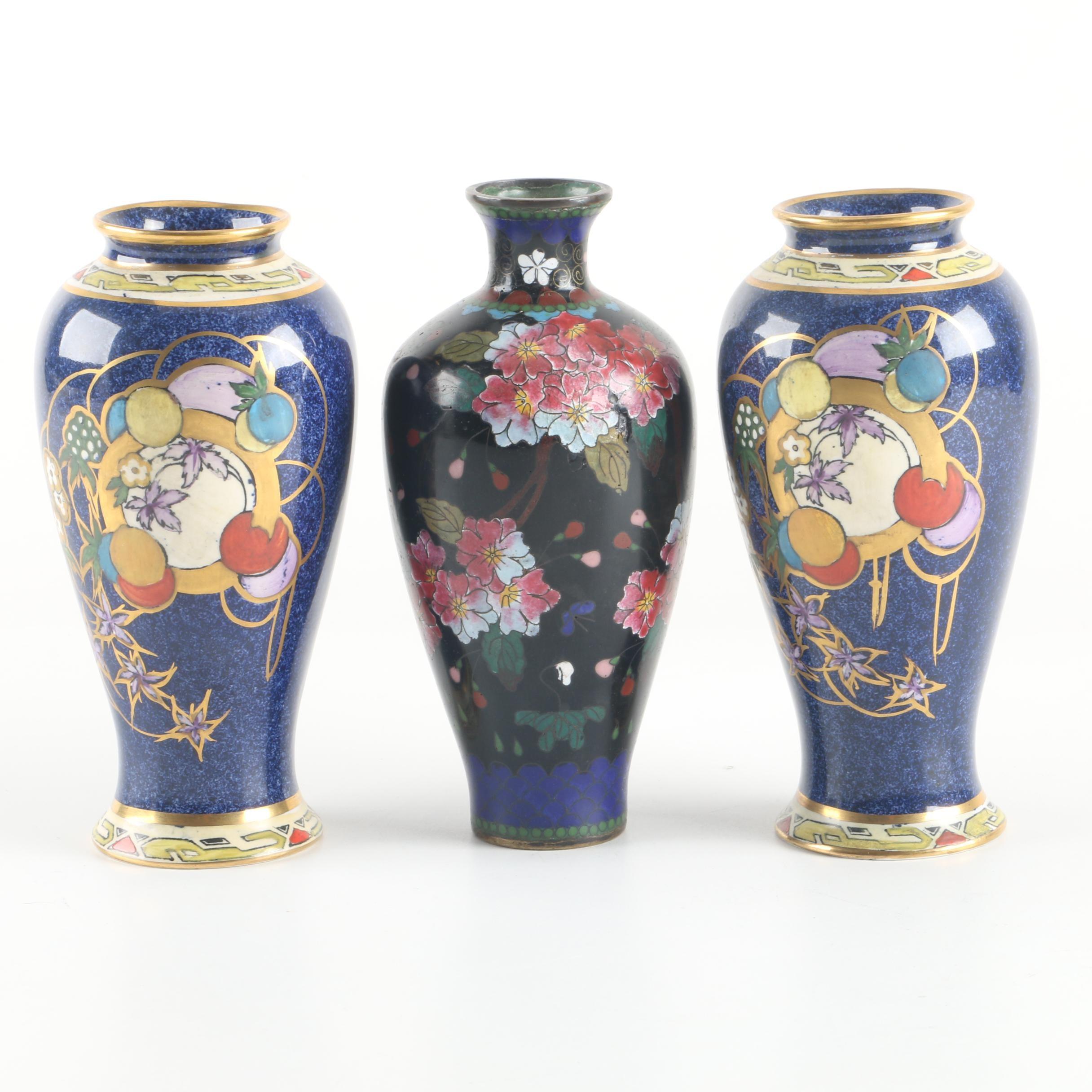 """Art Deco Royal Cauldon """"Mayfair"""" Hand-Painted Porcelain Vases and Cloisonné Vase"""