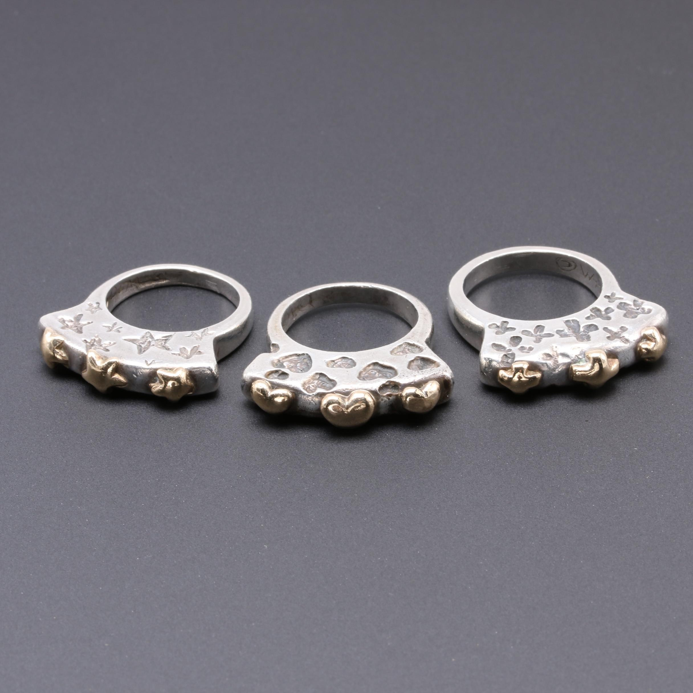 Sterling Silver Heart, Star and Flower Flat Crown Rings with 14K Accents