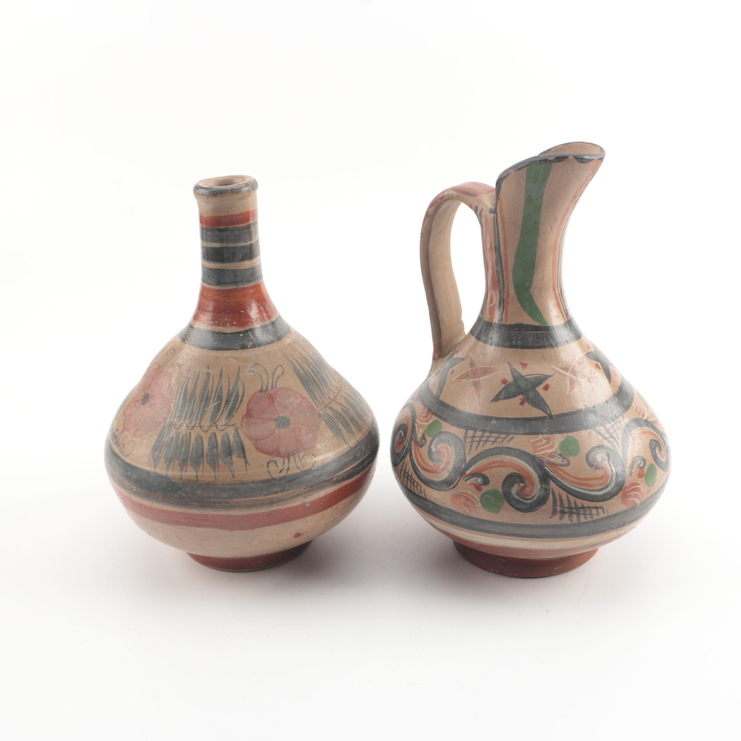 Vintage Tonala Style Vase and Pitcher