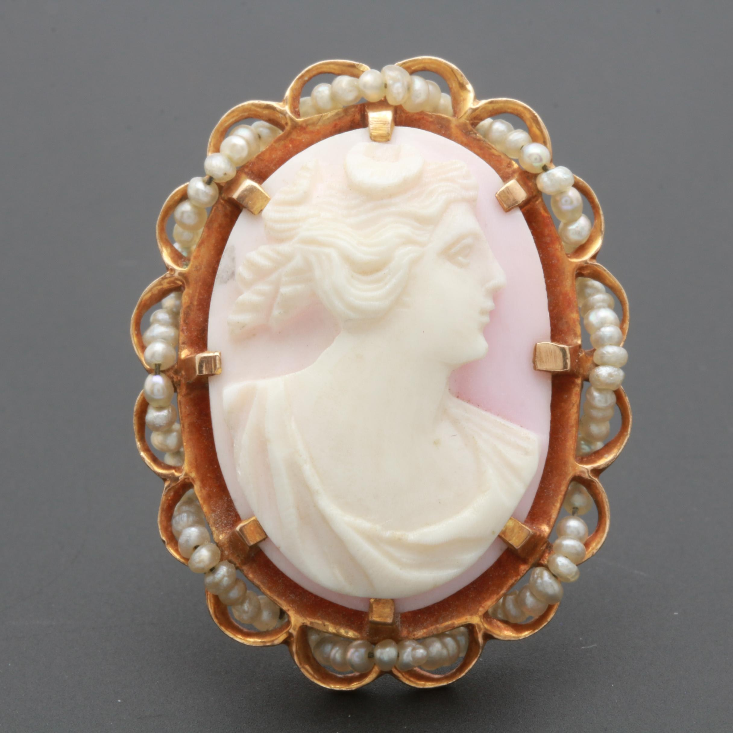 Victorian 10K Yellow Gold Shell and Pearl Cameo Converter Brooch
