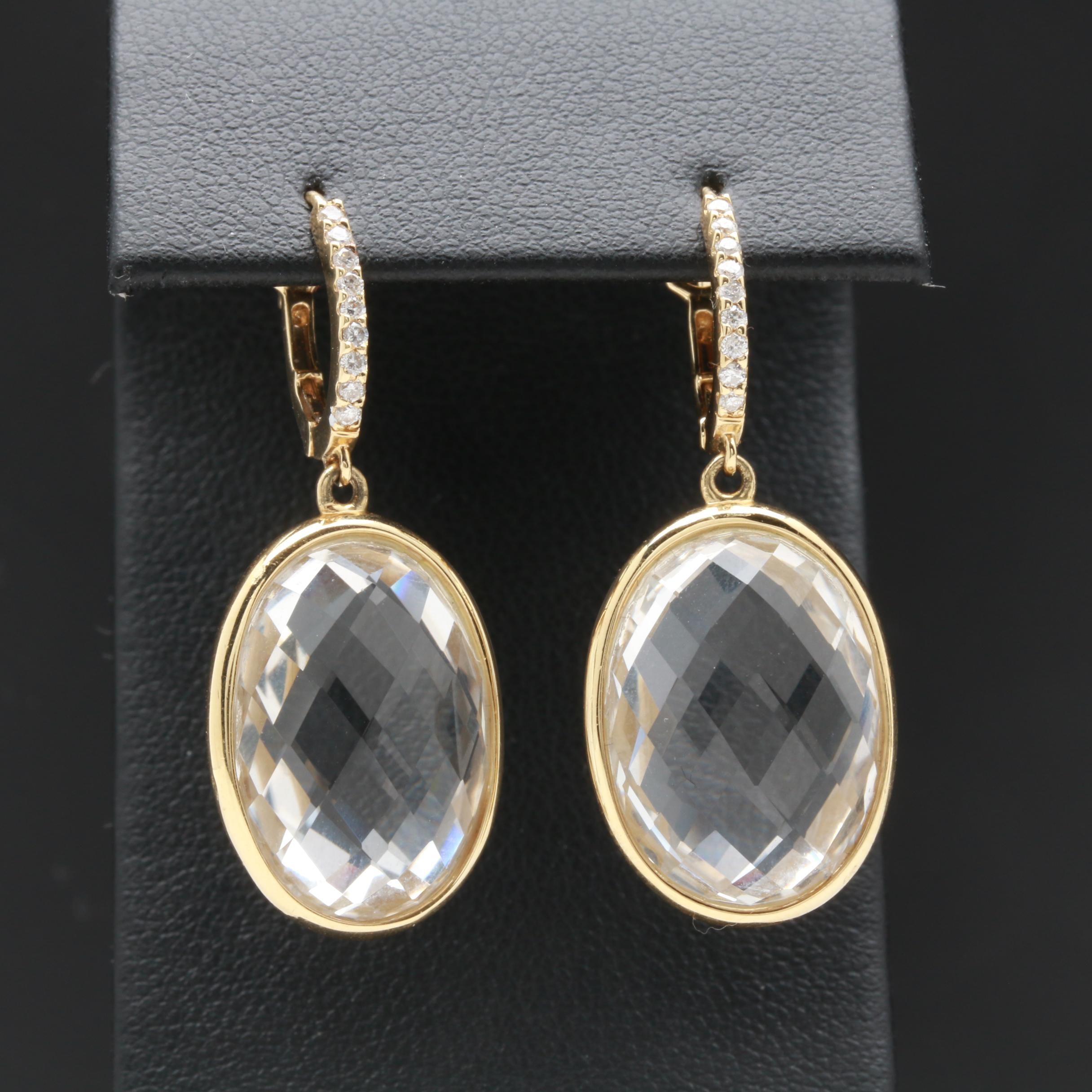 14K Yellow Gold Quartz and Diamond Earrings