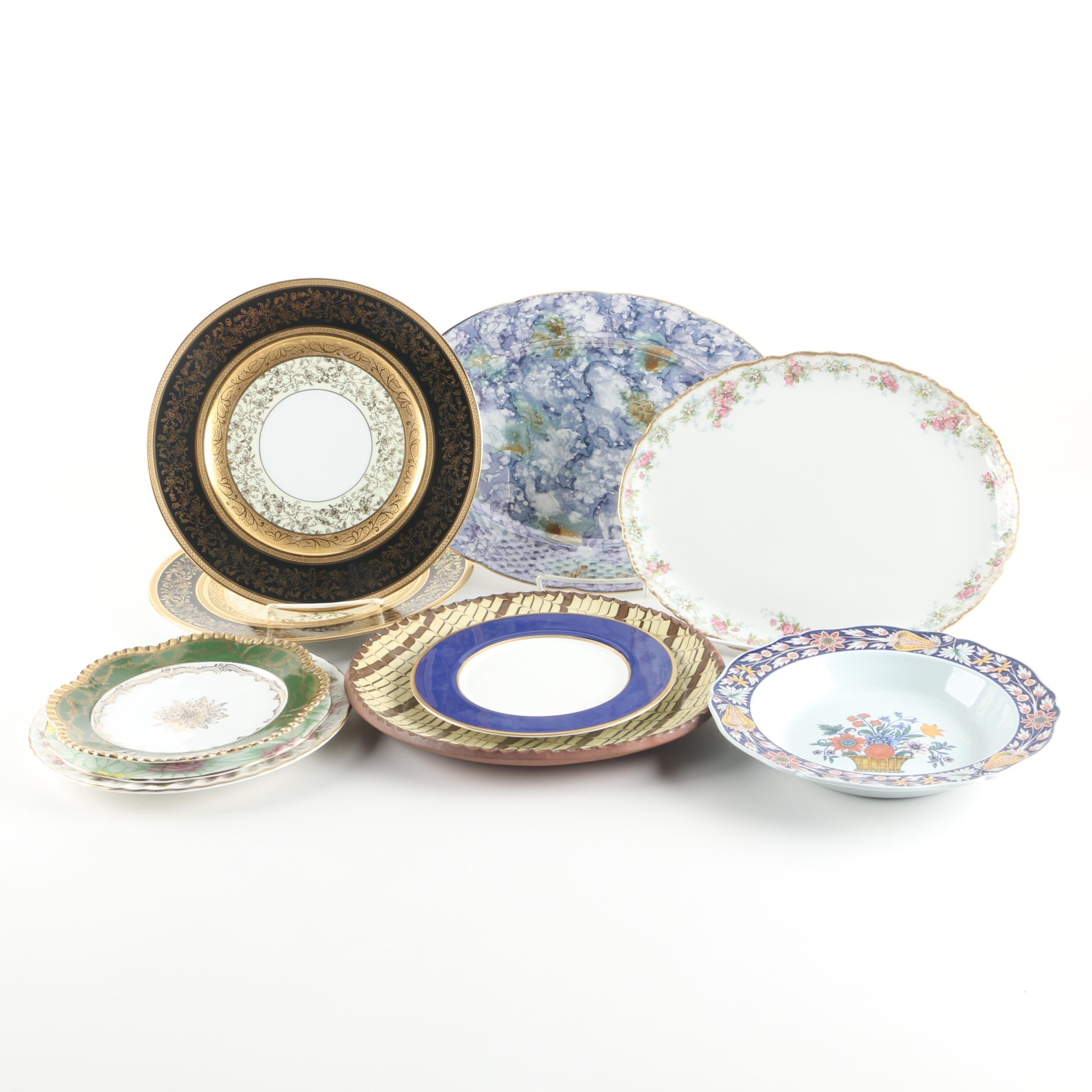 """Minton """"Spring Bouquet"""" Porcelain Plate with Other Tableware and Serveware"""
