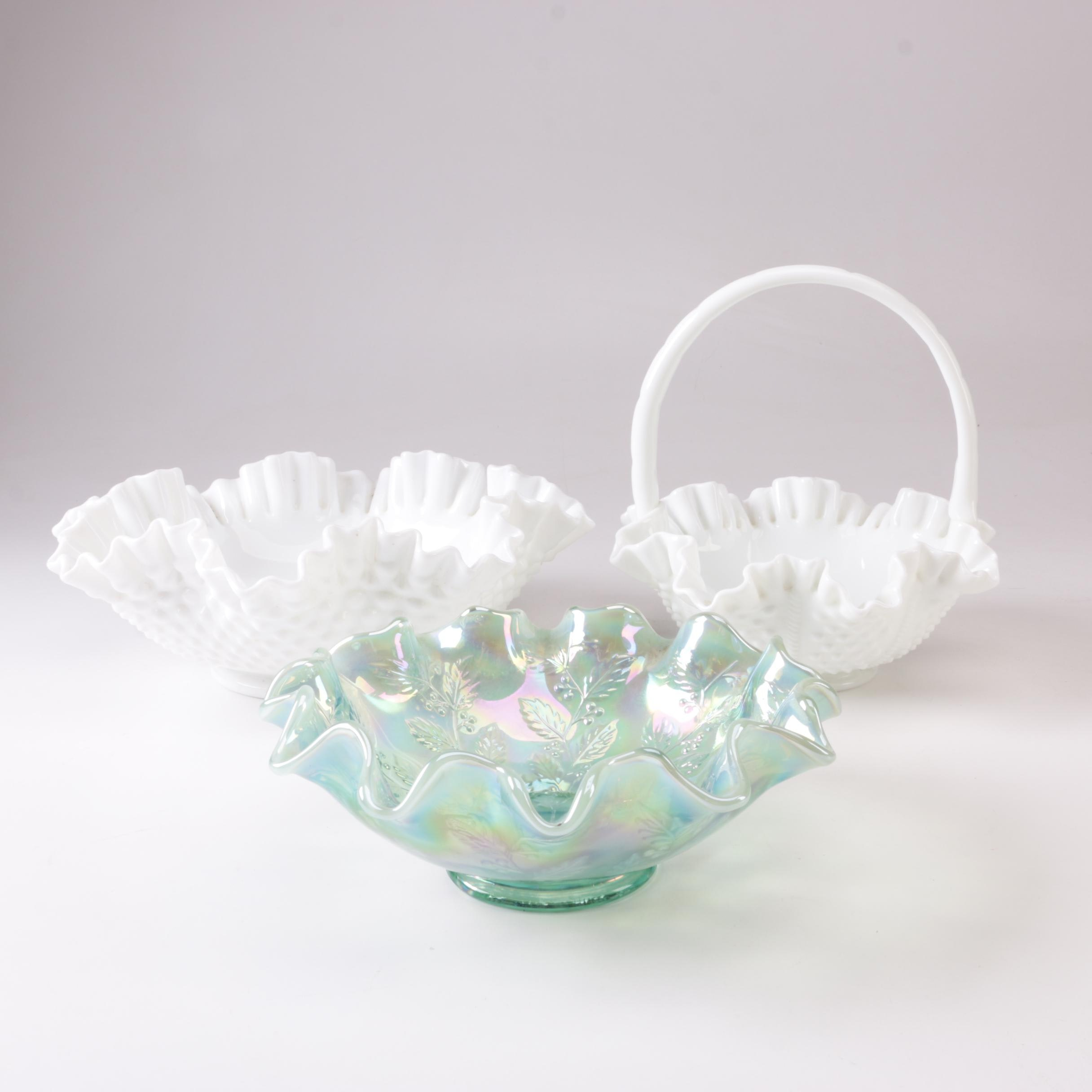Vintage Fenton Ruffled Bowls and Baskets Including Hobnail Milkglass