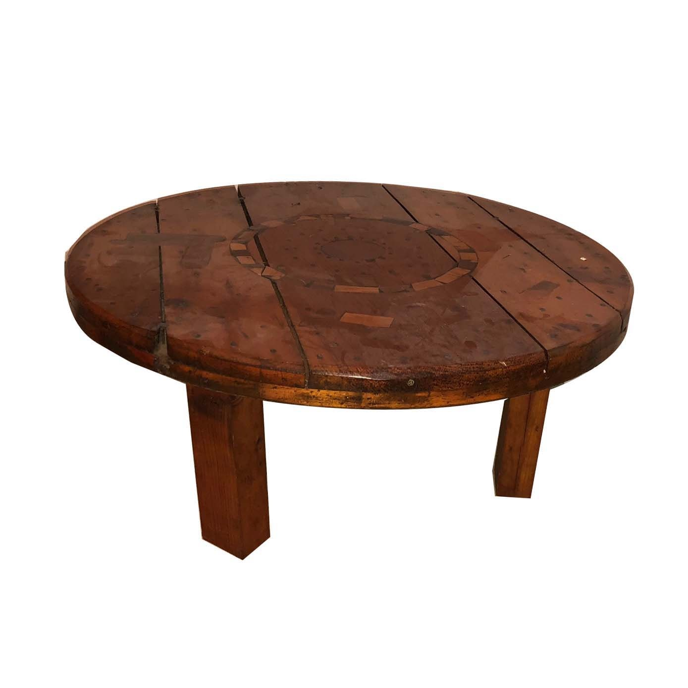 Reclaimed Wood Wire Spool Coffee Table with Marquetry Accents