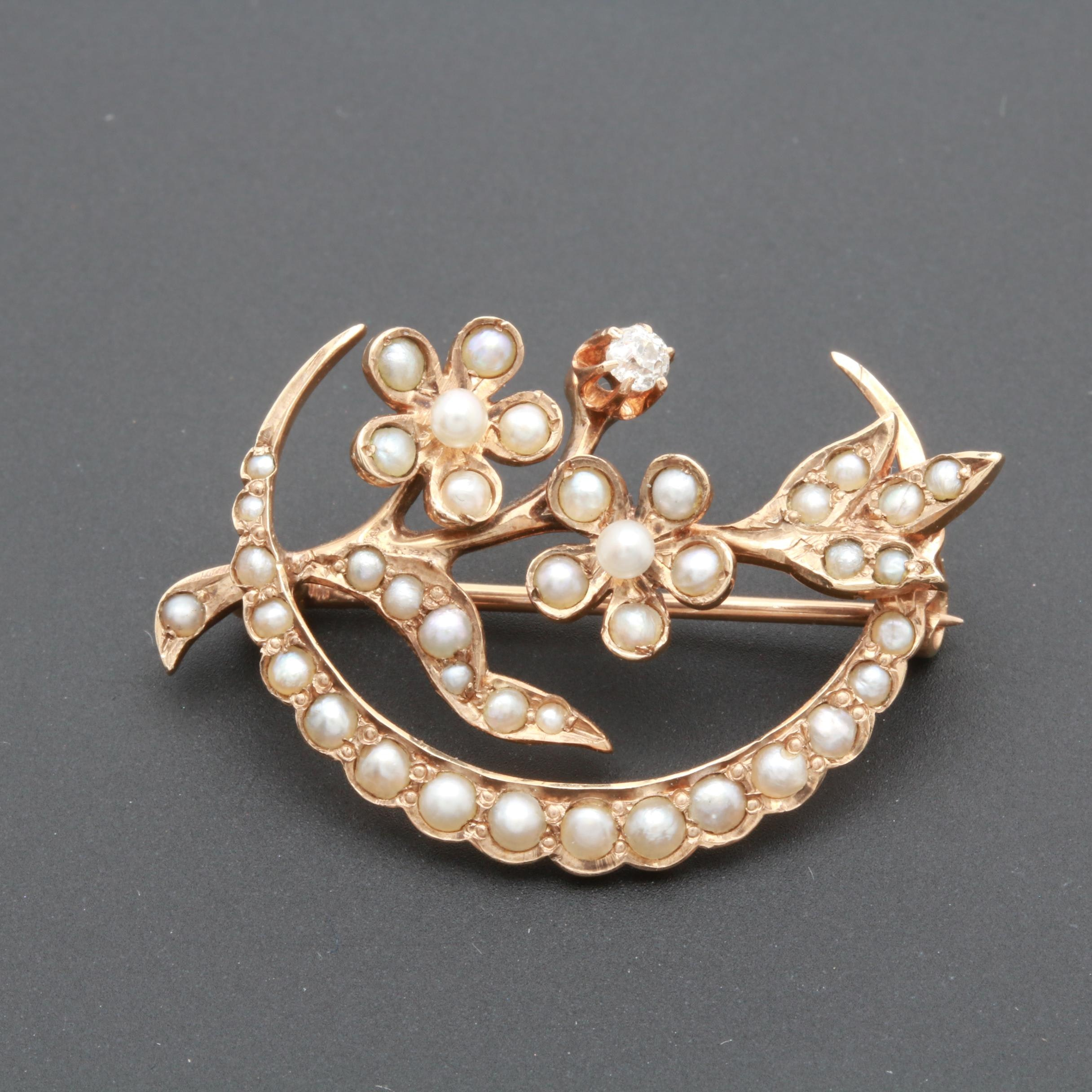 Victorian 10K Yellow Gold Diamond and Seed Pearl Brooch