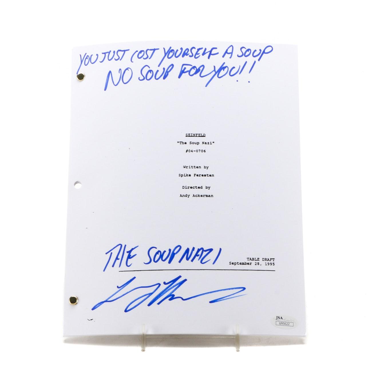 "Larry Thomas aka ""Soup Nazi"" Signed Seinfield Script  COA"