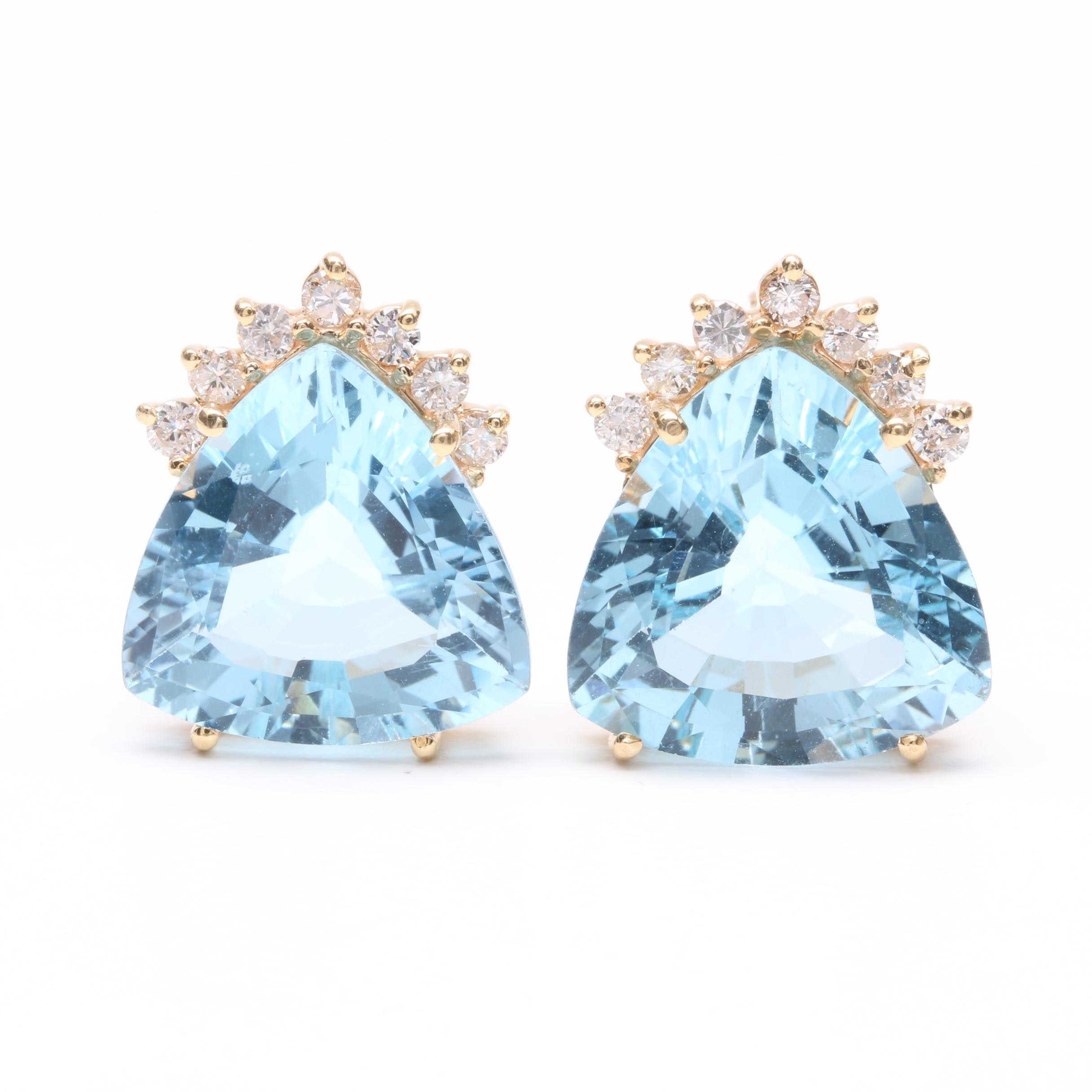 14K Yellow Gold 22.10 CTW Blue Topaz and Diamond Earrings