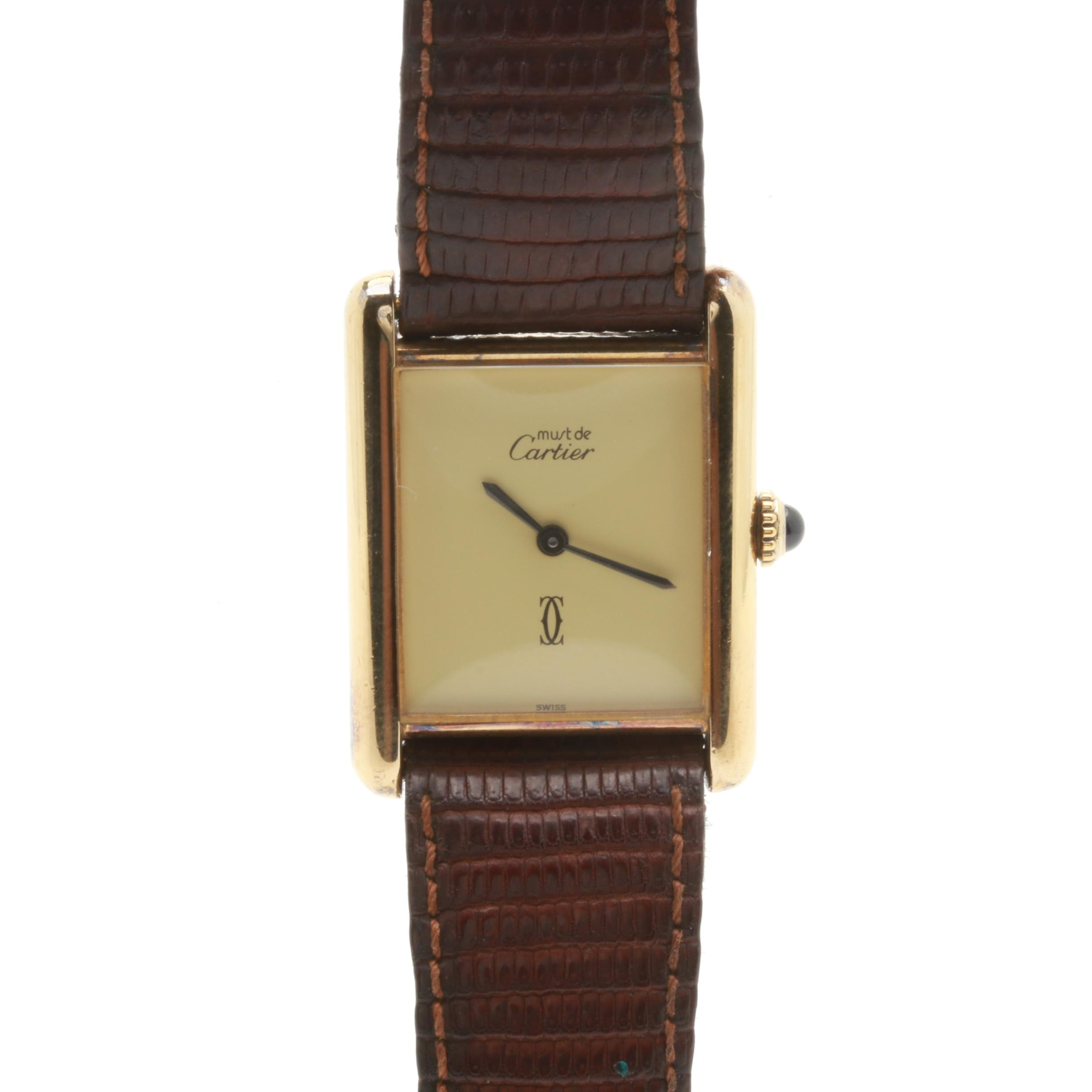 Must de Cartier Gold Plated Sterling Silver Leather Wristwatch