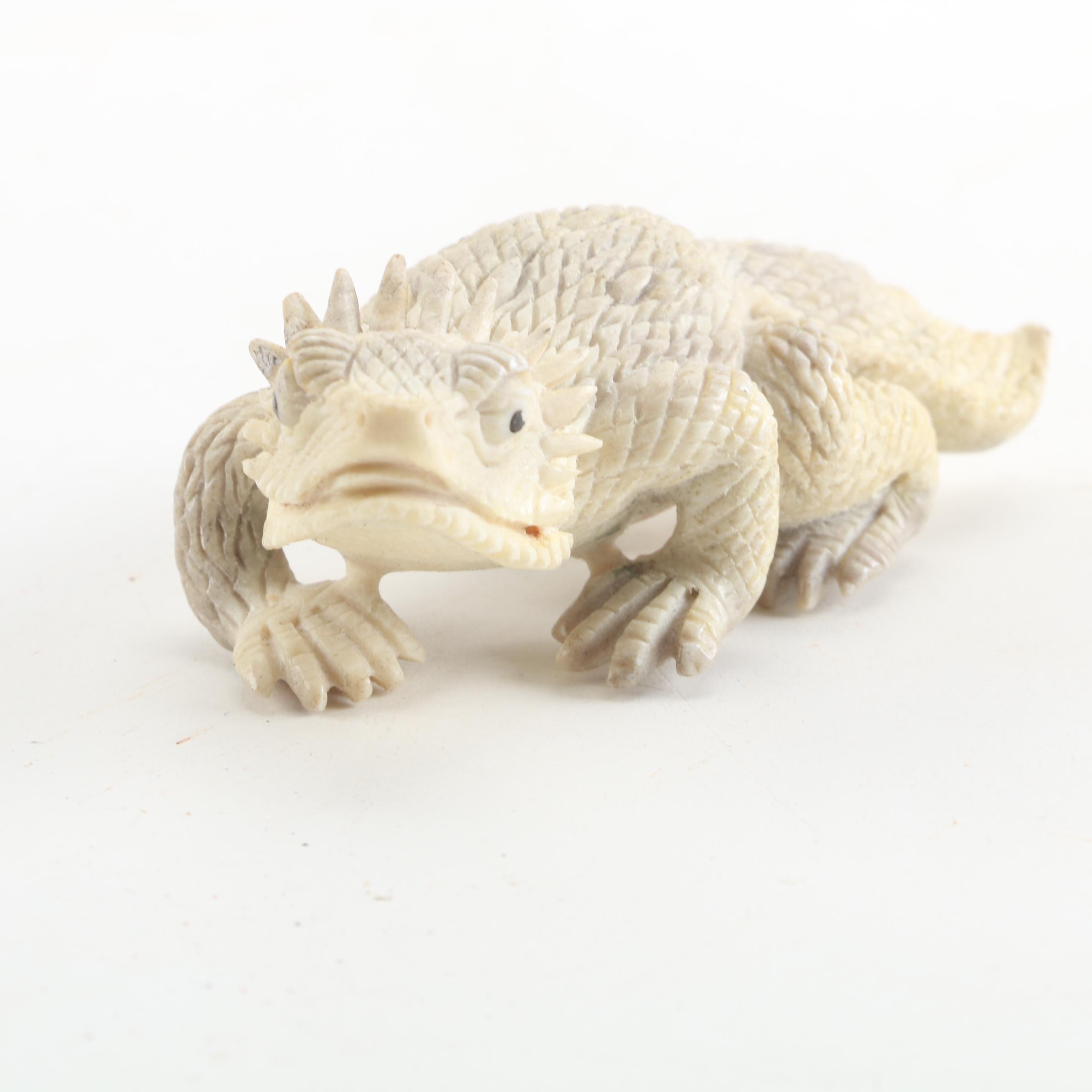 Carved Bone Horn Toad Figurine