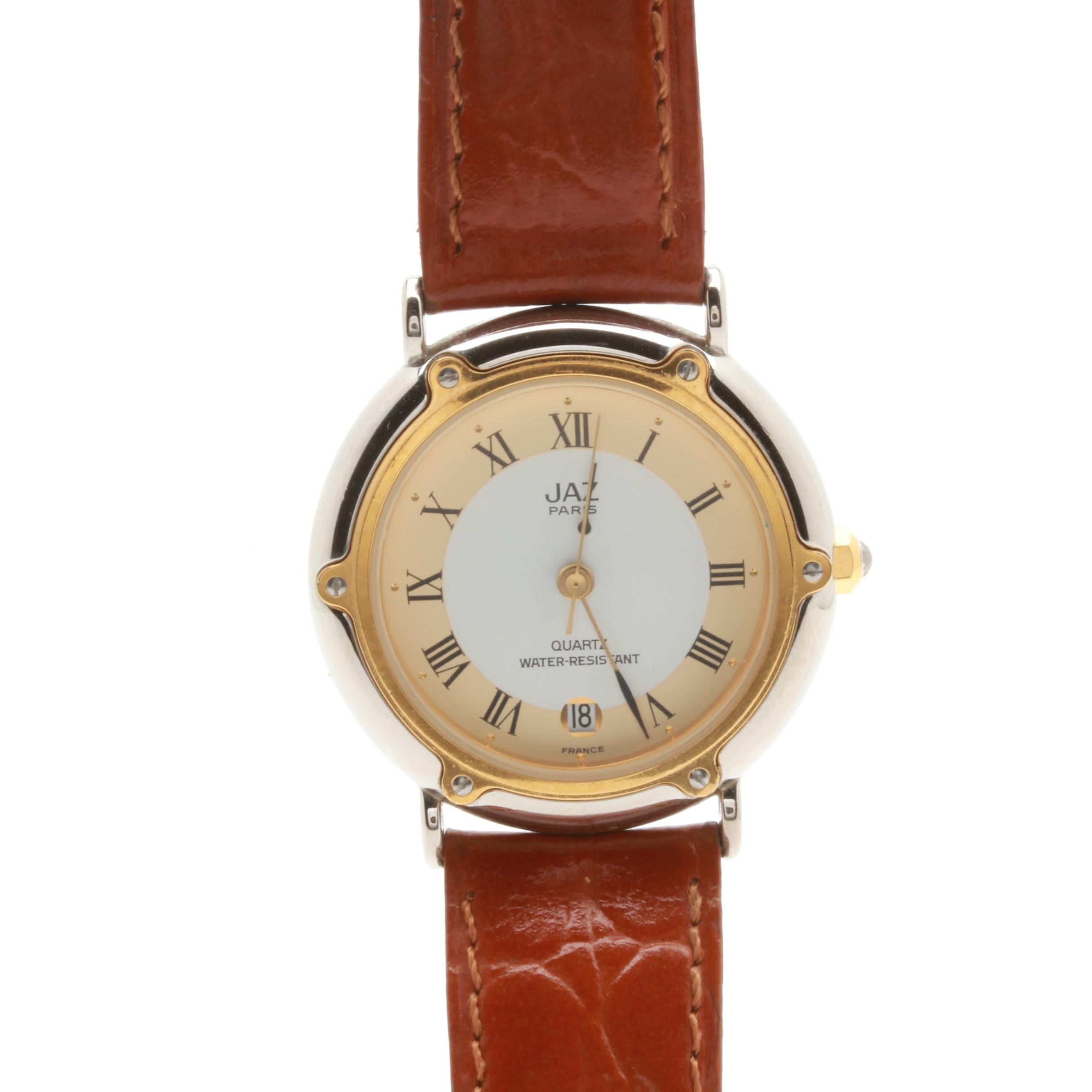 Jaz Gold-Tone and Stainless Steel Brown Leather Wristwatch