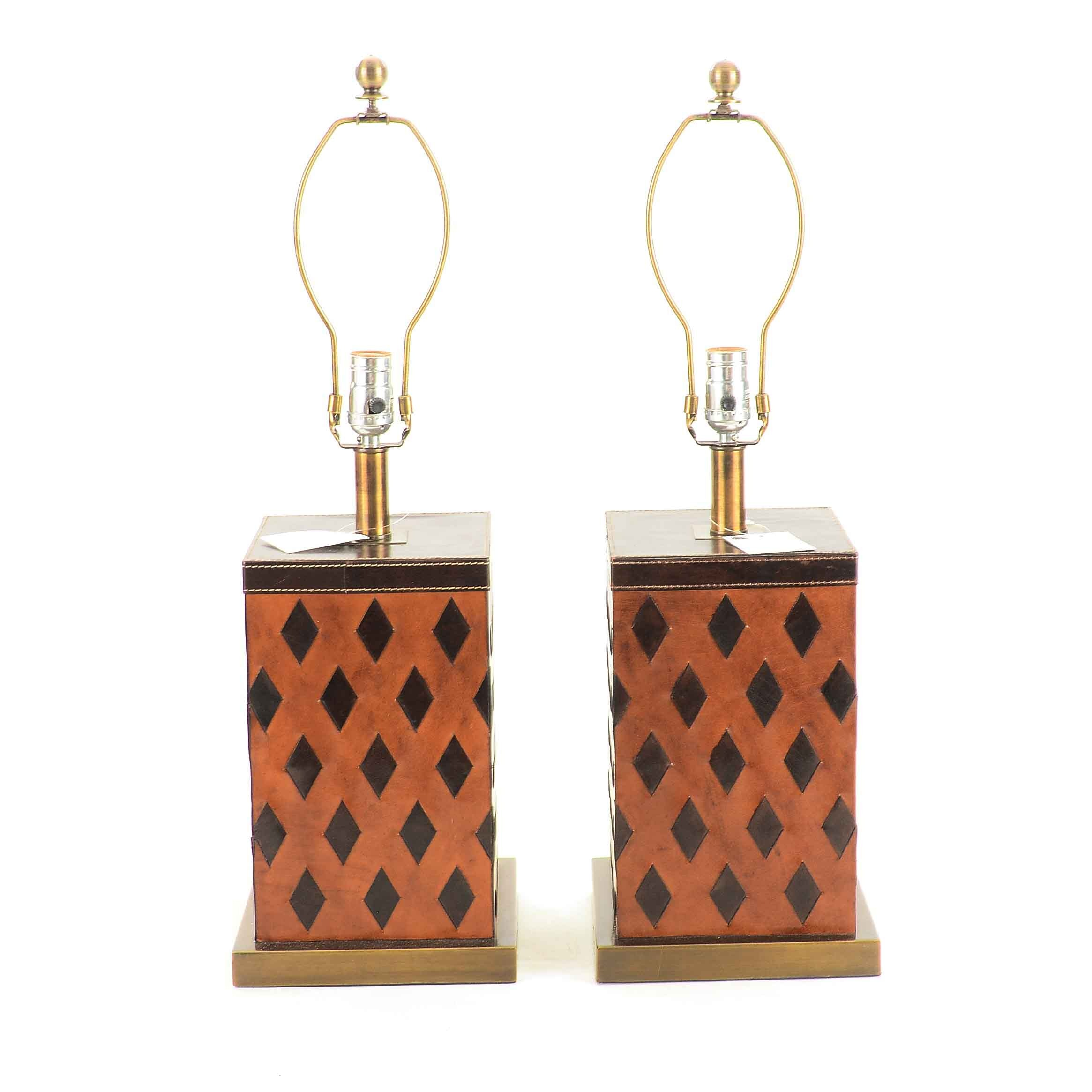 Pair of Diamond Pattern Faux Leather Lamps