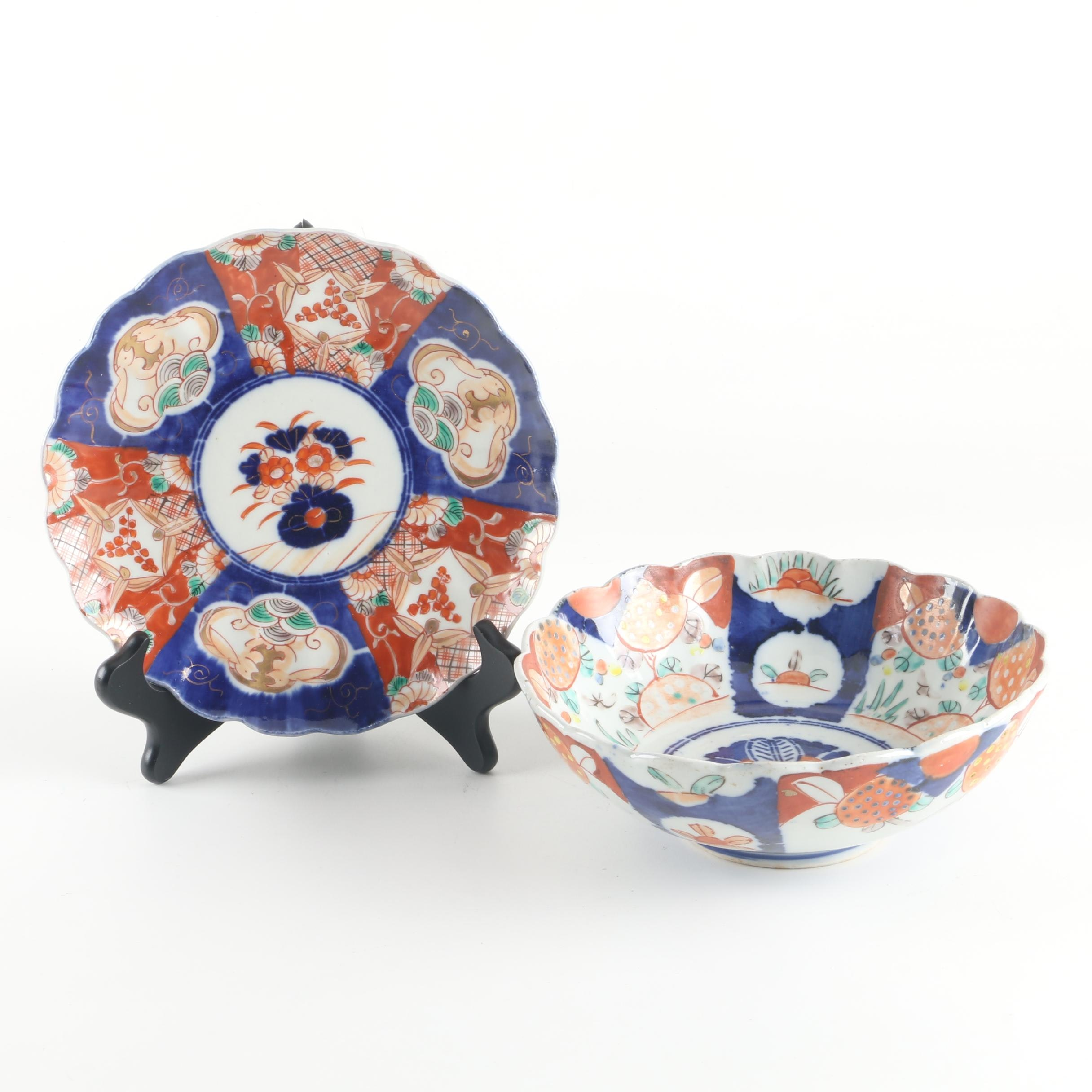 Japanese Hand-Painted Imari Porcelain Bowl and Plate