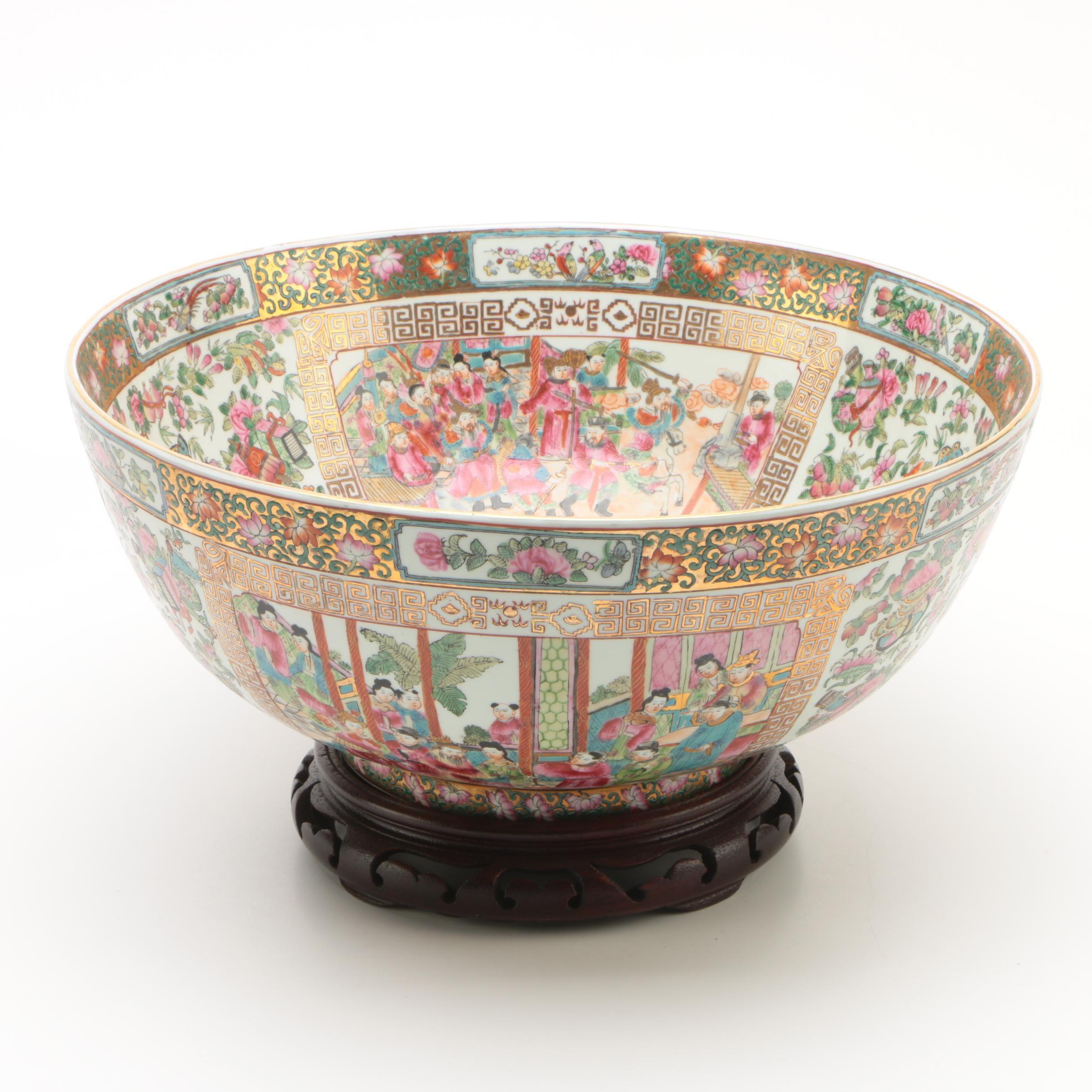 Gump's Rose Medallion Porcelain Footed Bowl