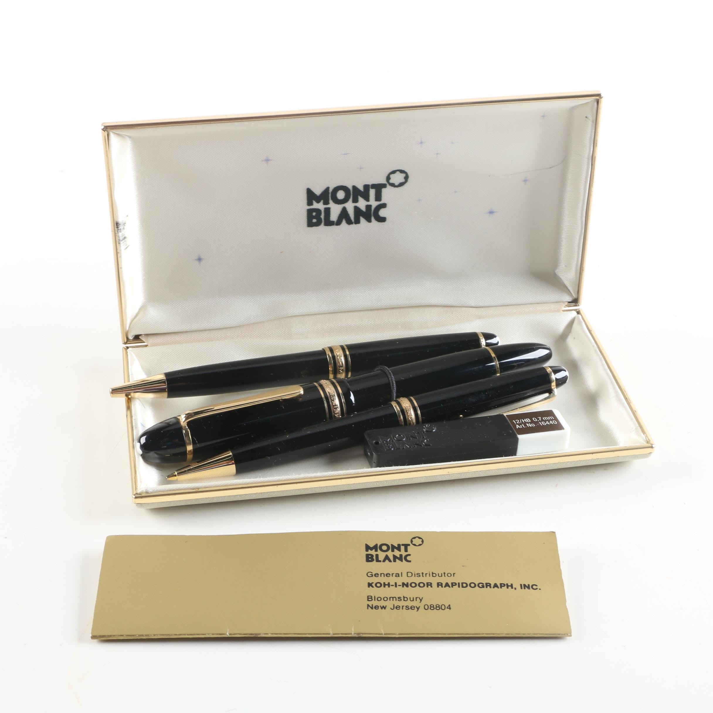 Montblanc Meisterstück Fountain Pen, Ball Point Pen and Pencil with Case