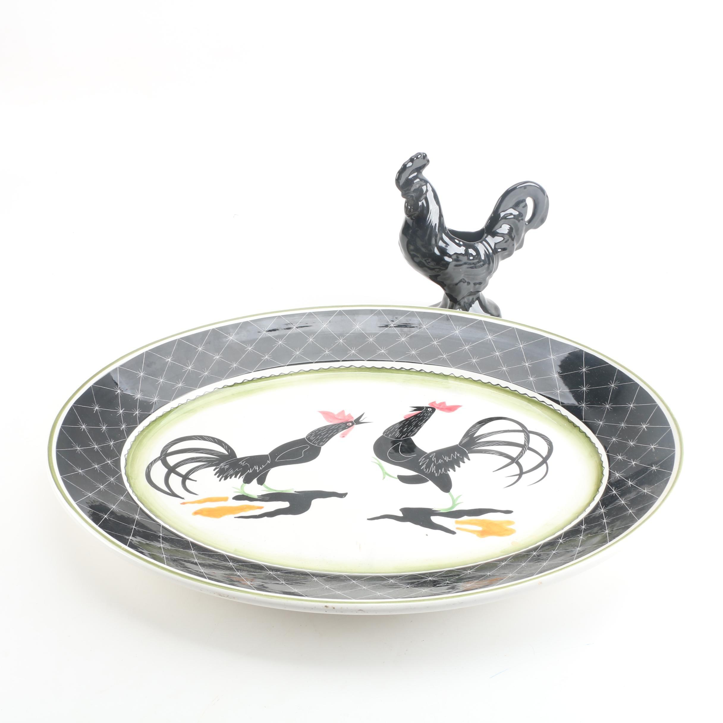 Italian Ceramic Platter with Rooster Vase