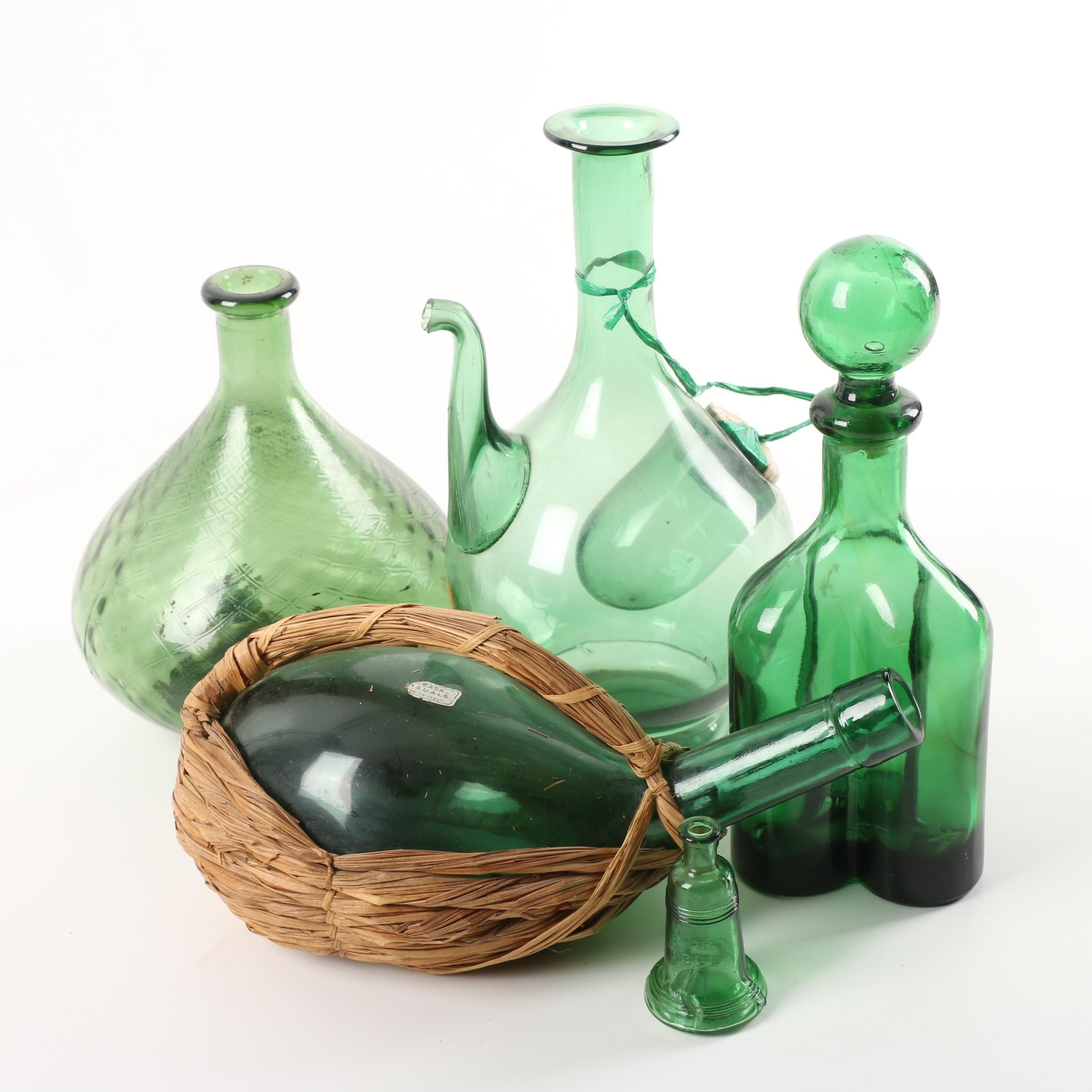 Vintage Green Glass Italian Wine Bottles, Decanters and Vases