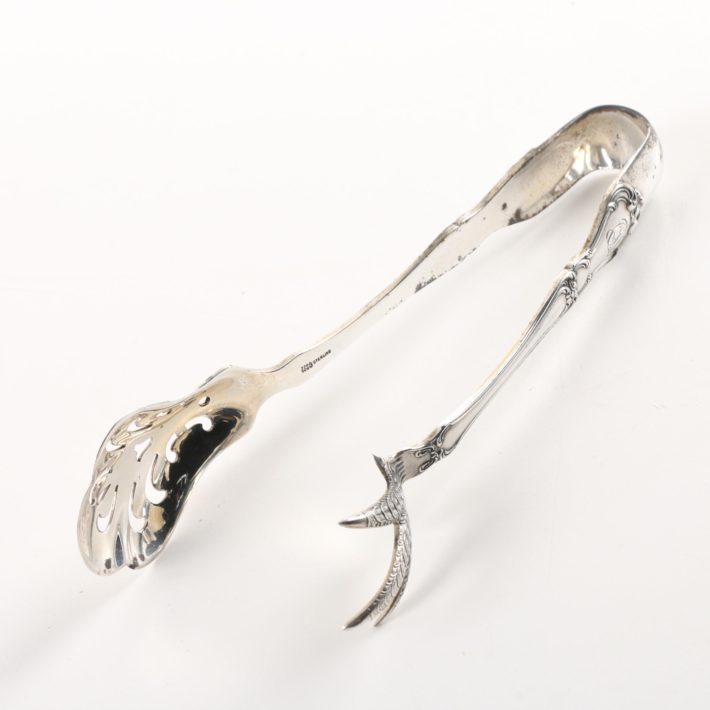 "Gorham ""Chantilly"" Sterling Silver Ice Tongs"