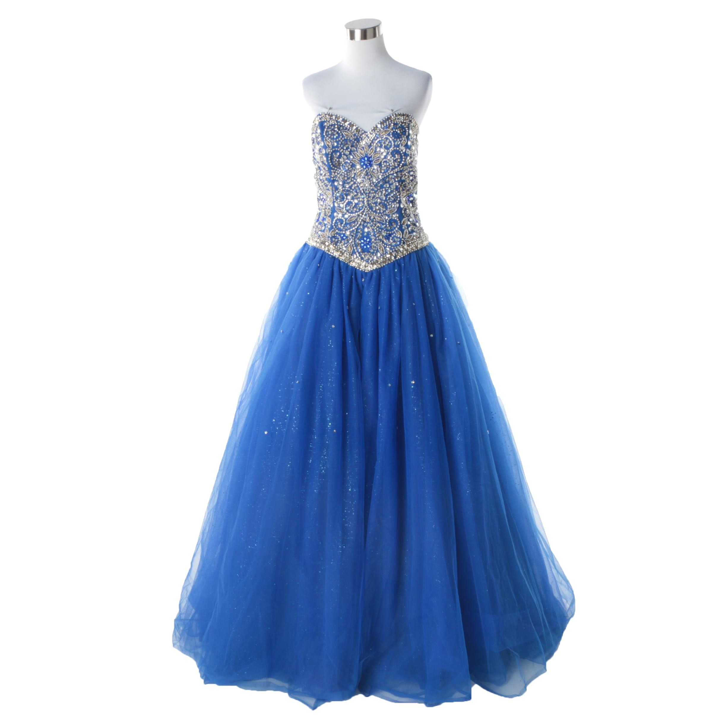 Mary's Brand Blue Beaded Strapless Ballgown