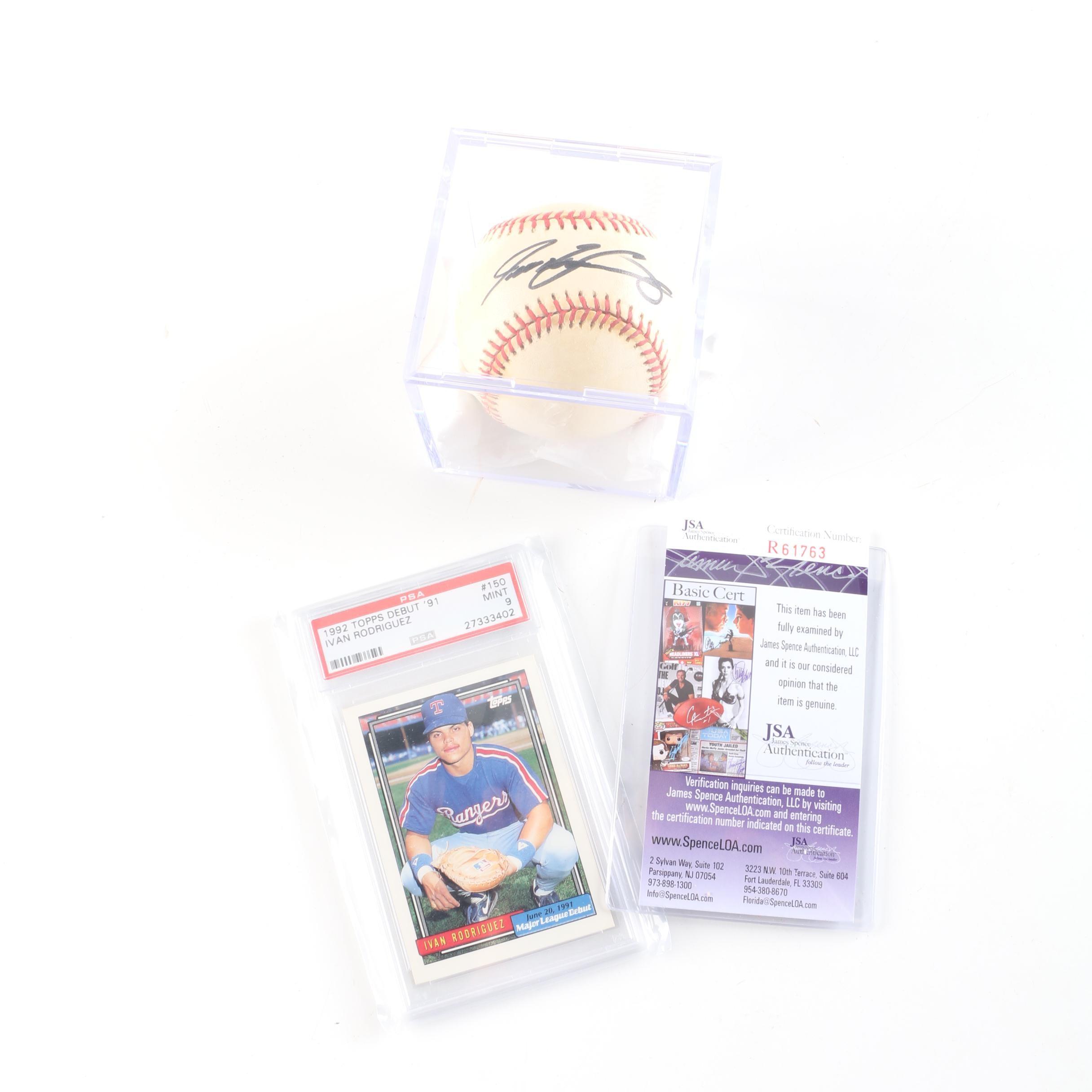 Ivan Rodriguez Autographed Baseball With JSA COA and PSA Graded Card