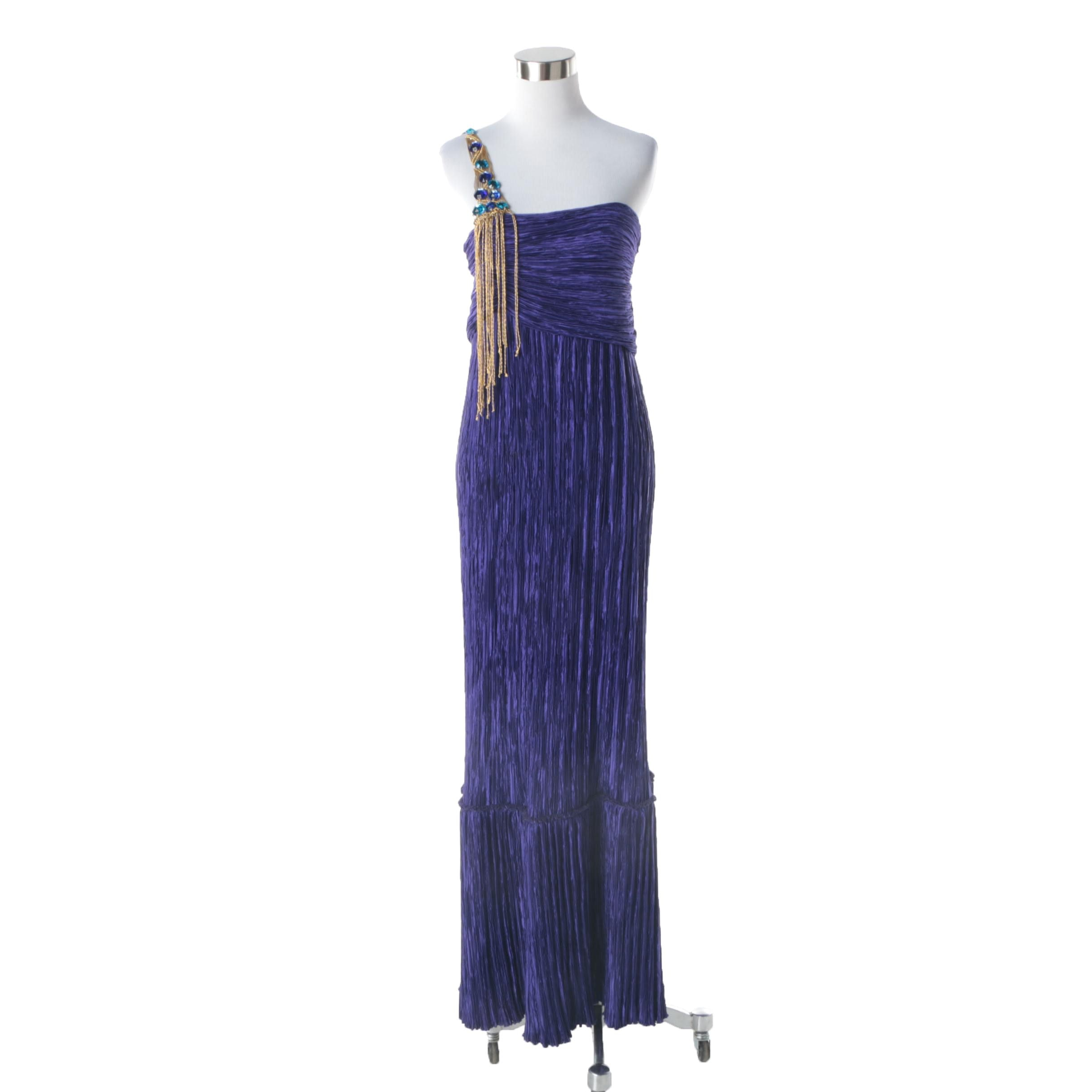 1980s Vintage One-Shoulder Purple Pleated Maxi Evening Dress with Rhinestones