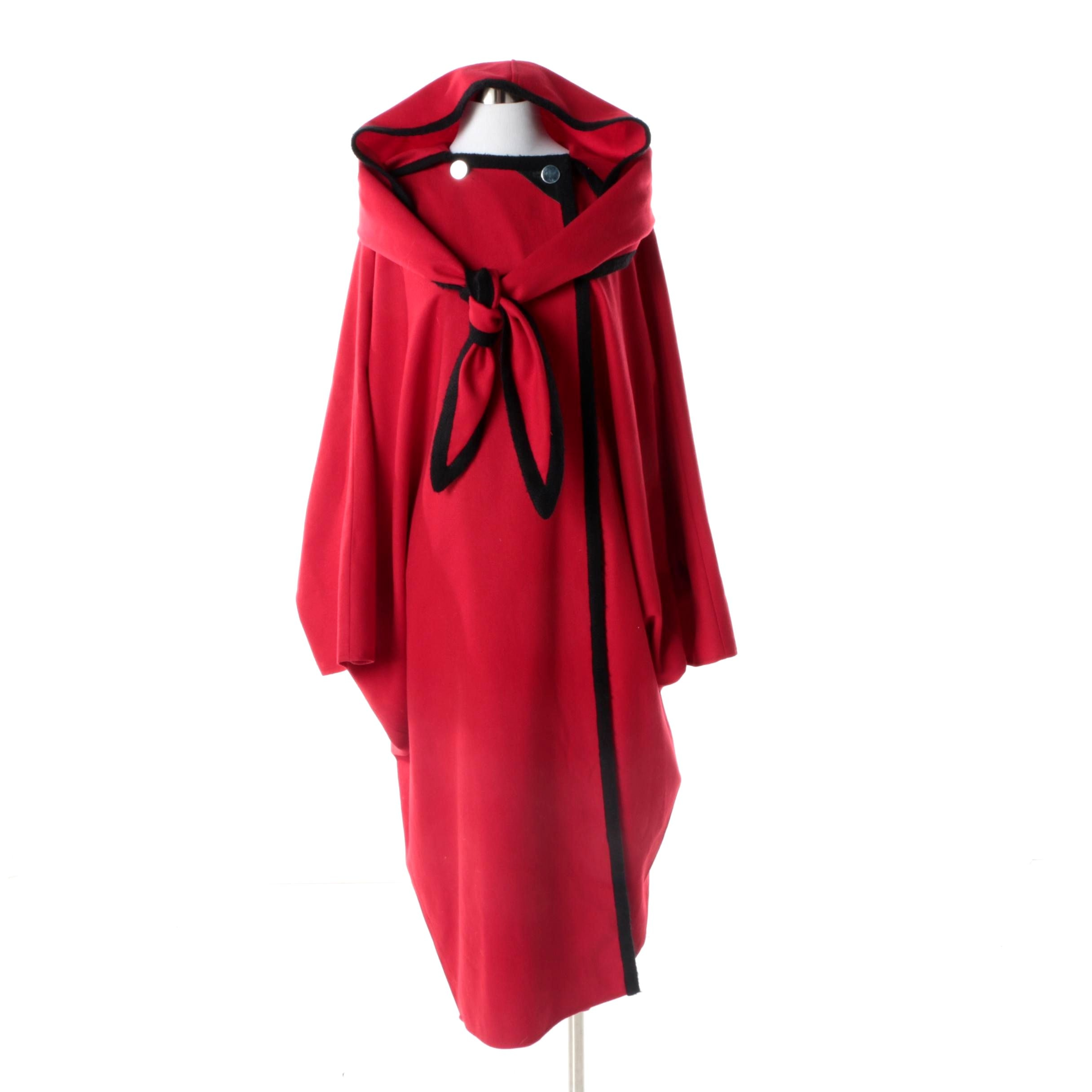 1960s Vintage C'est Simone Red and Black Wool Cocoon Cape