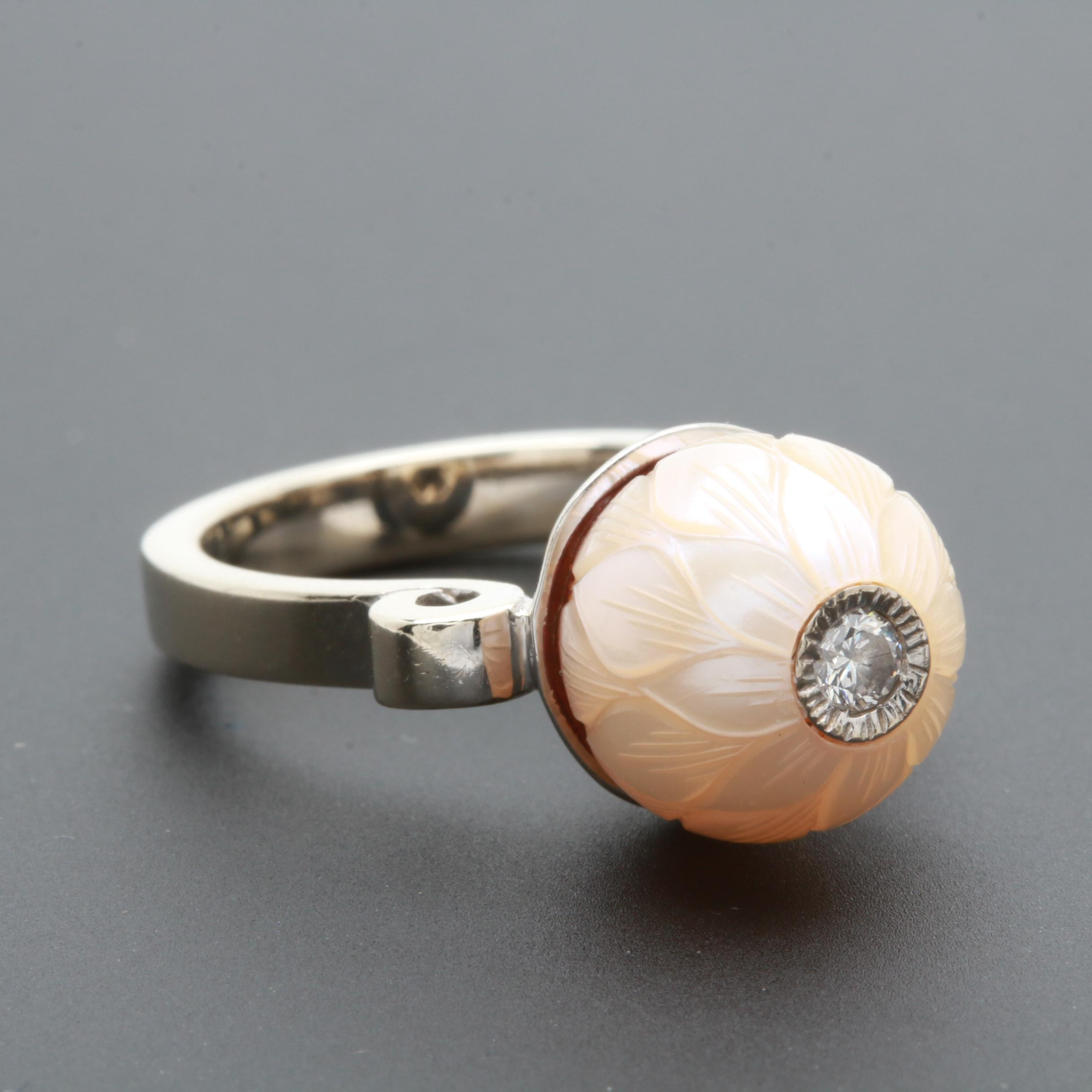 Galatea 14K White Gold Cultured Pearl and Diamond Ring