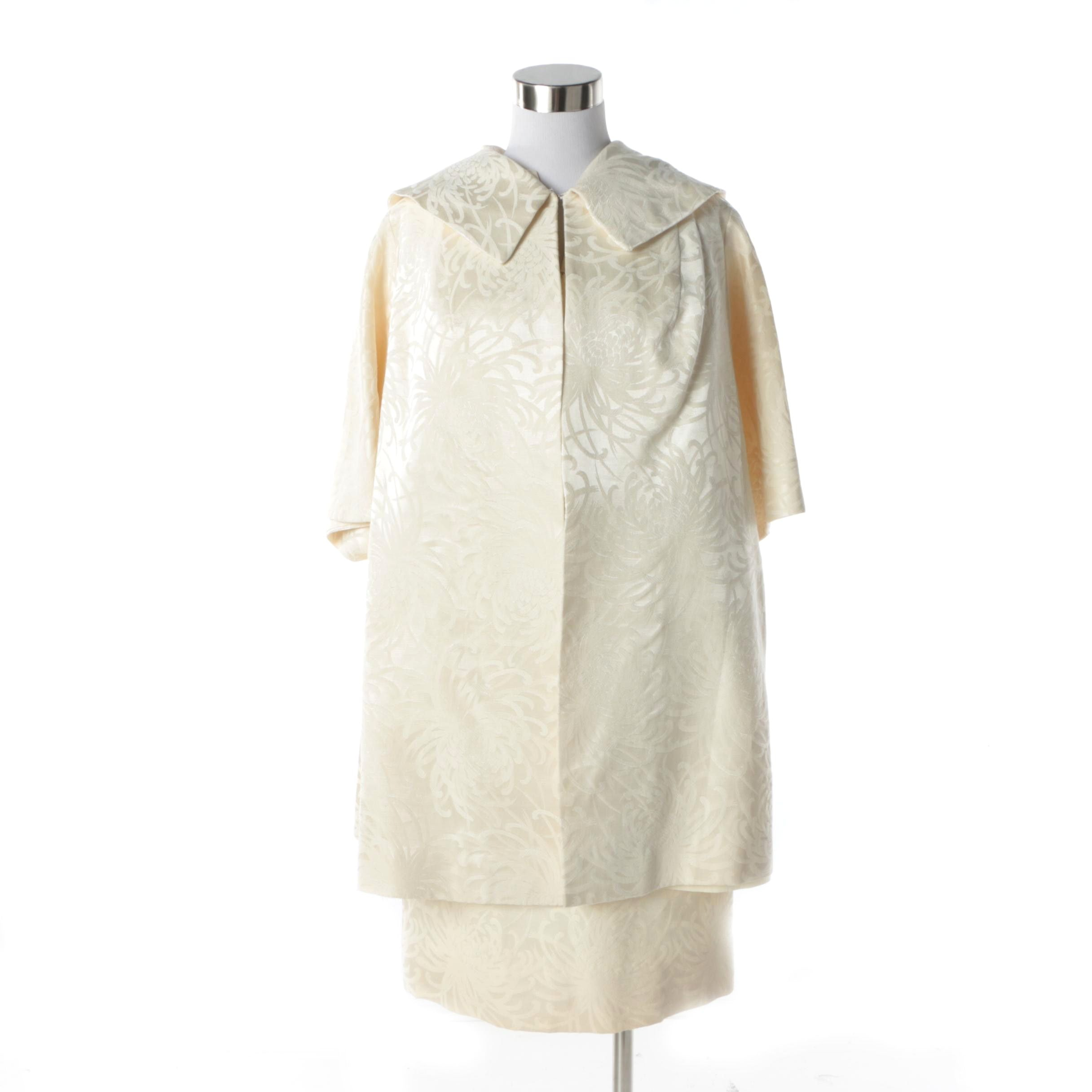 1960s Lilli Diamond Ivory Chrysanthemum Brocade Beaded Dress and Opera Coat