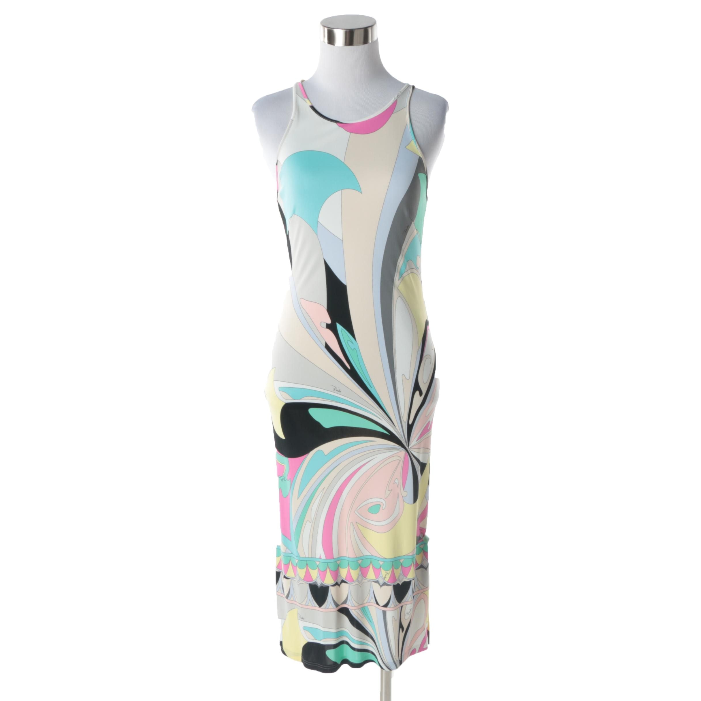 Women's Emilio Pucci Firenze Multicolored Floral Print Sheath Dress