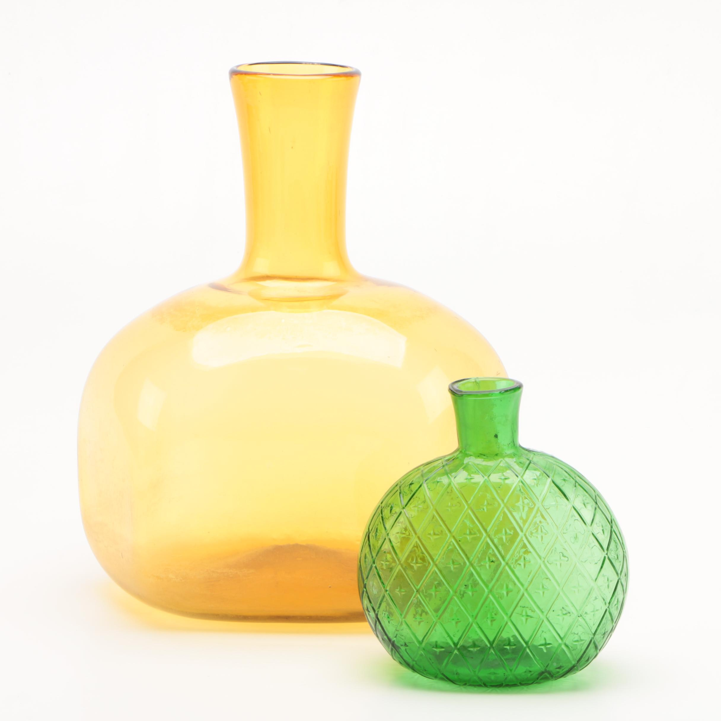 Bottle Shaped Colored Art Glass Vases