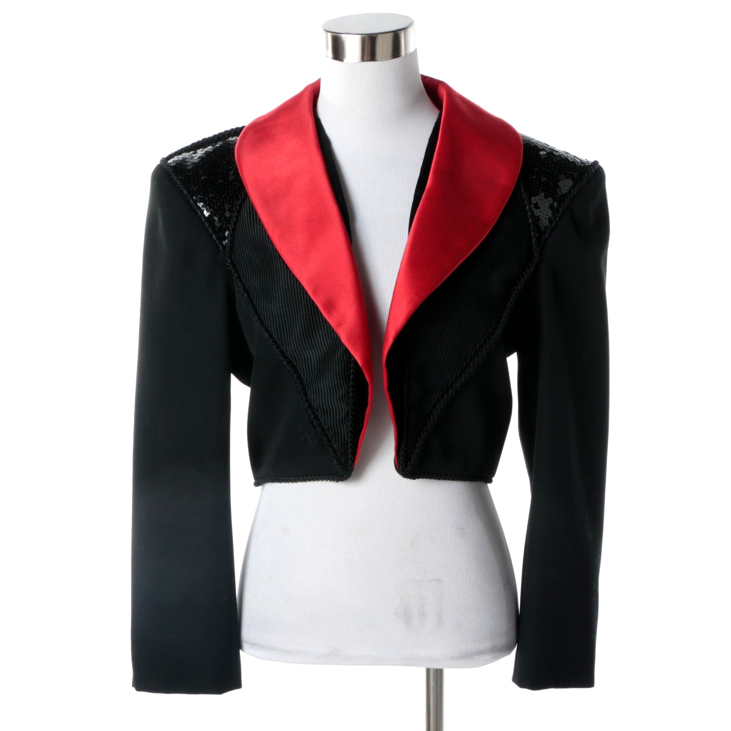 1980s Yves Saint Laurent Rive Gauche Black and Red Cropped Jacket