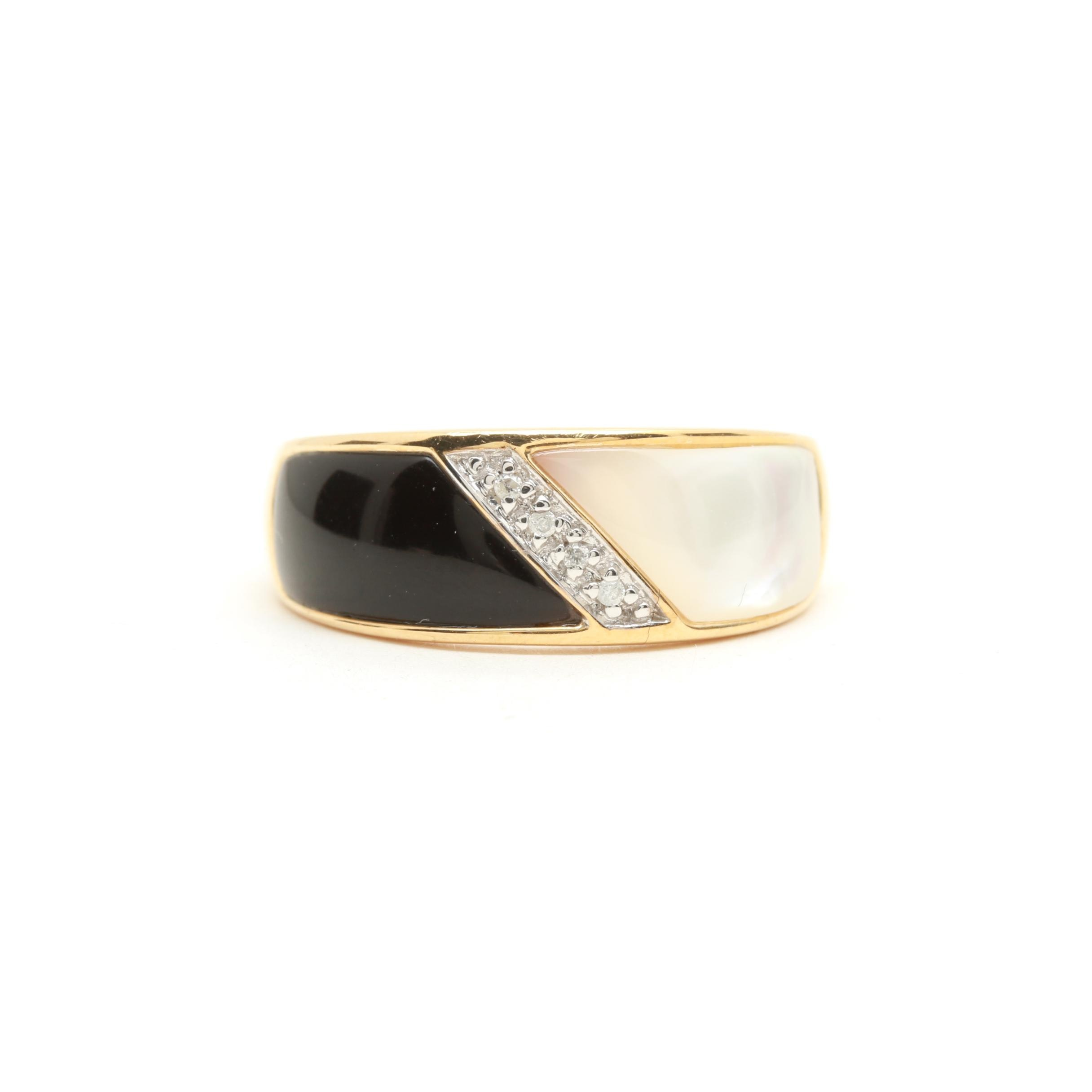 10K Yellow Gold Mother of Pearl, Imitation Onyx, and Diamond Ring