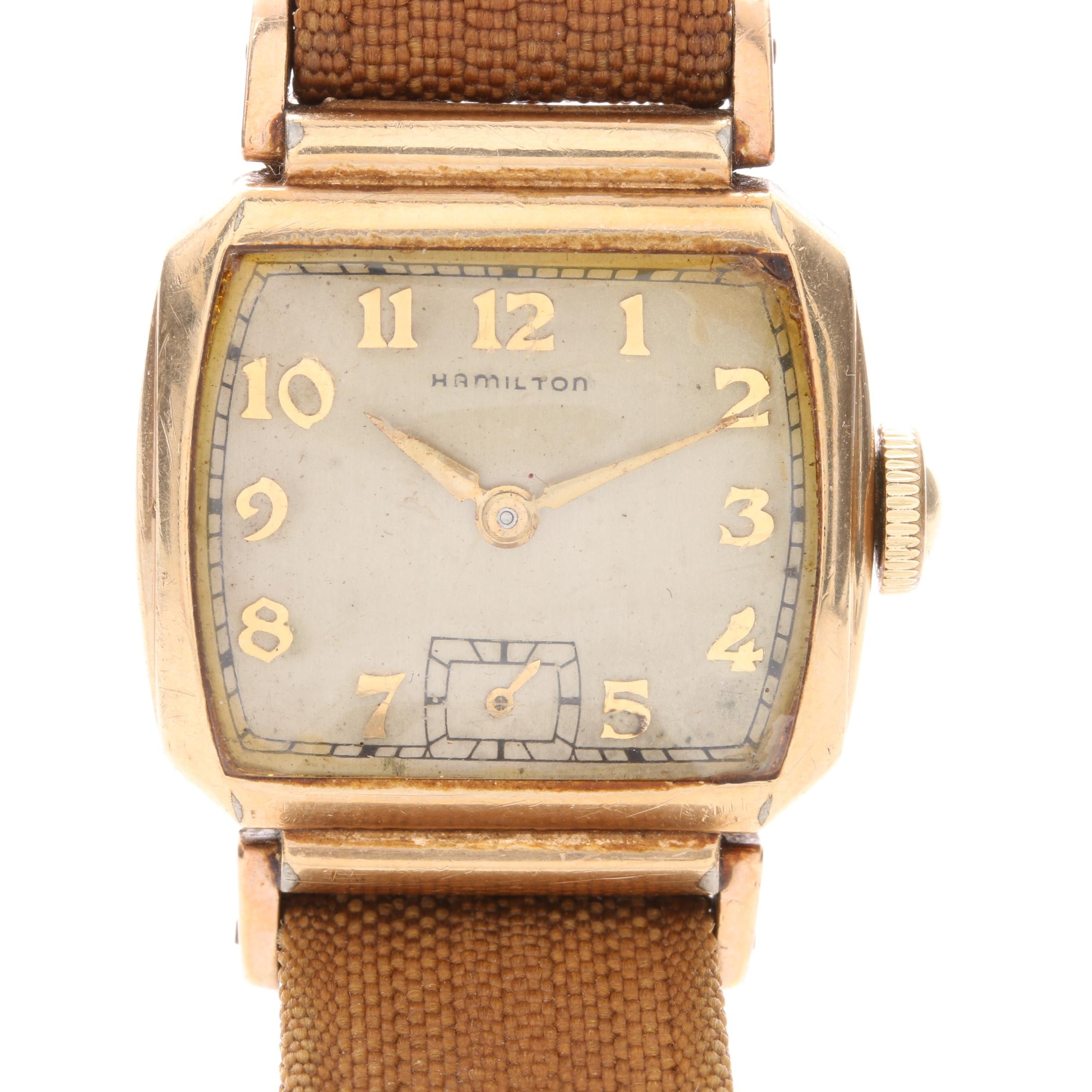 Hamilton 10K Gold-Filled Square Dial Watch with Nylon Strap