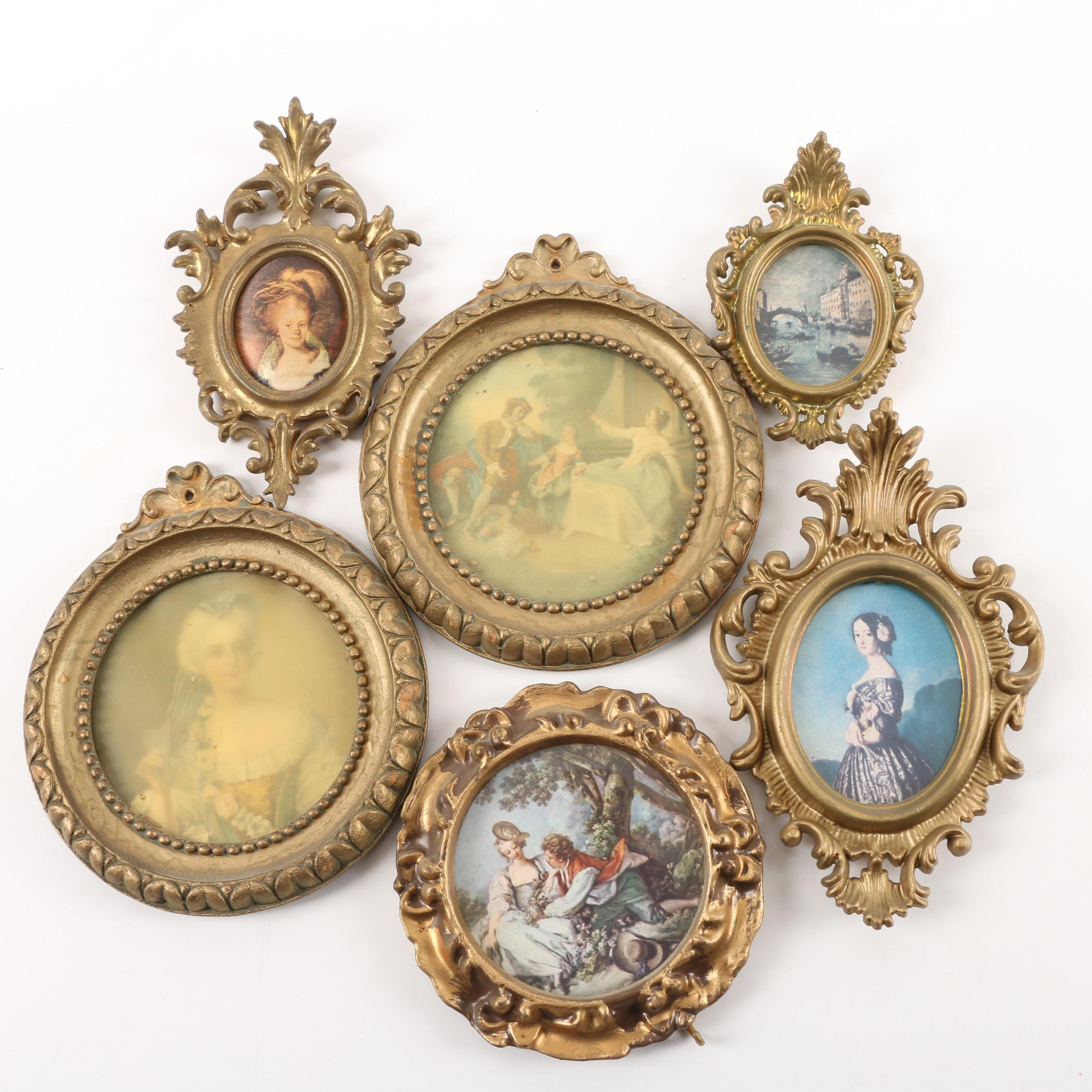 Vintage Reproduction Prints in Plastic and Wood Frames