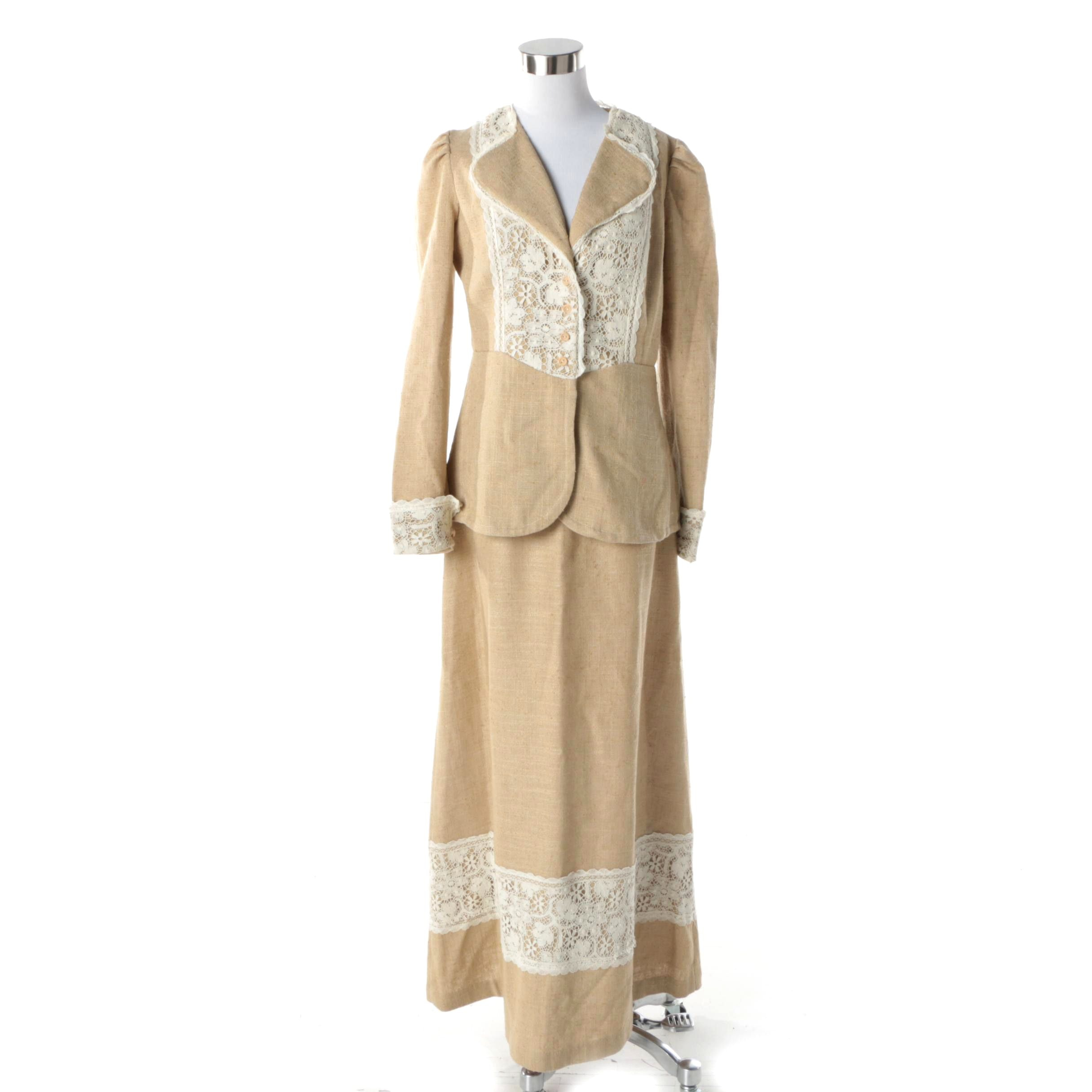 1980s Jessica's Gunnies of San Francisco Linen and White Lace Maxi Skirt Suit