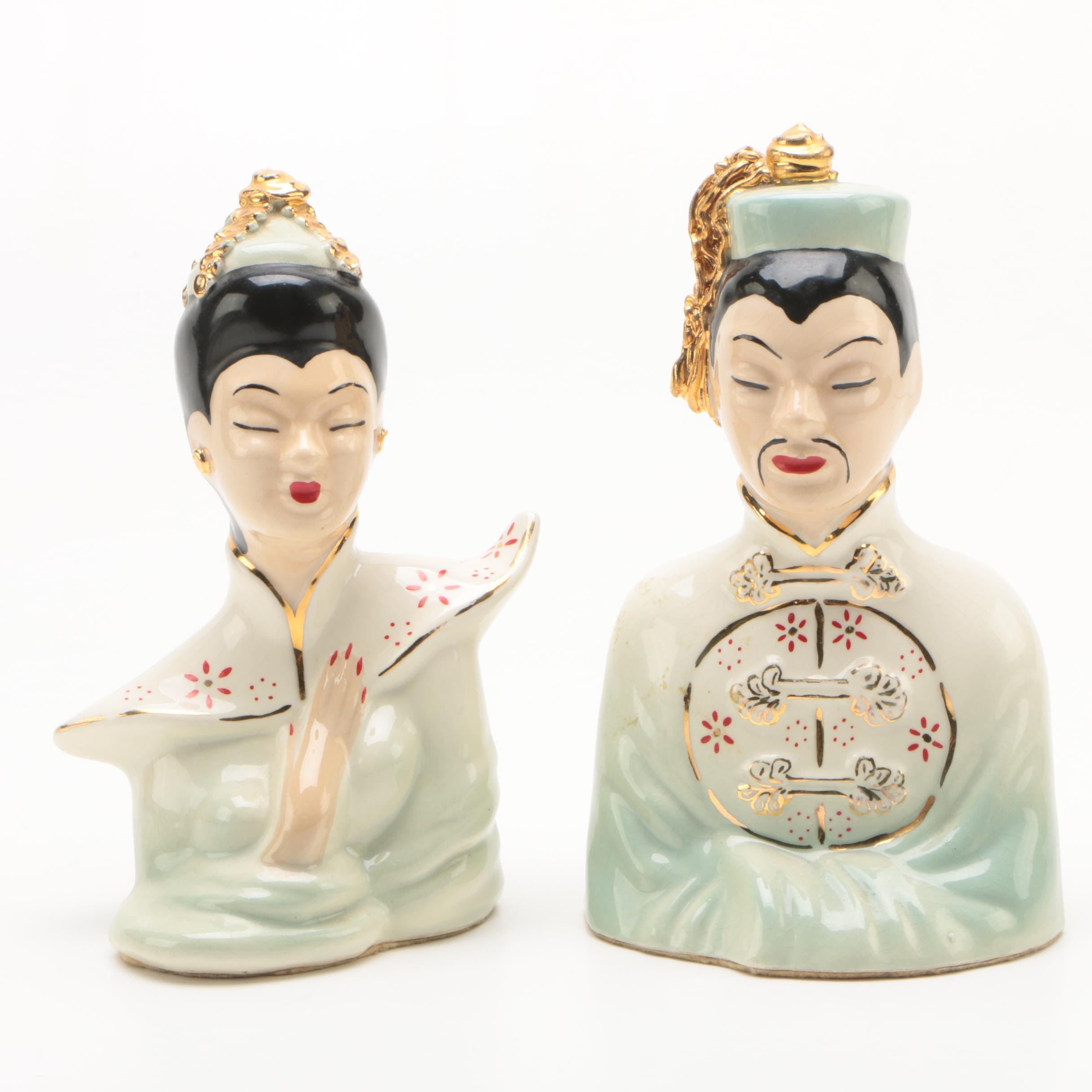 Vintage Chinese Inspired Hand-Painted Ceramic Bust Figurines