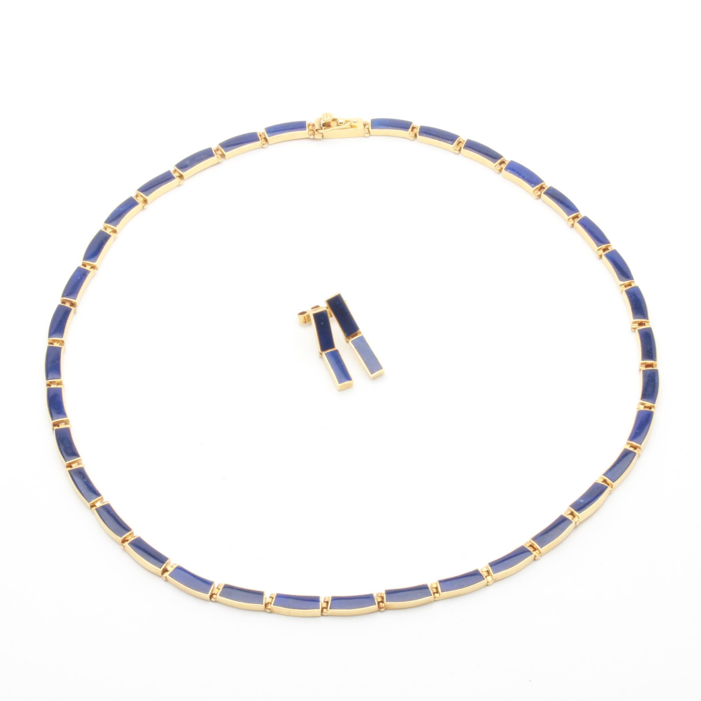 18K Yellow Gold Lapis Lazuli Demi Parure