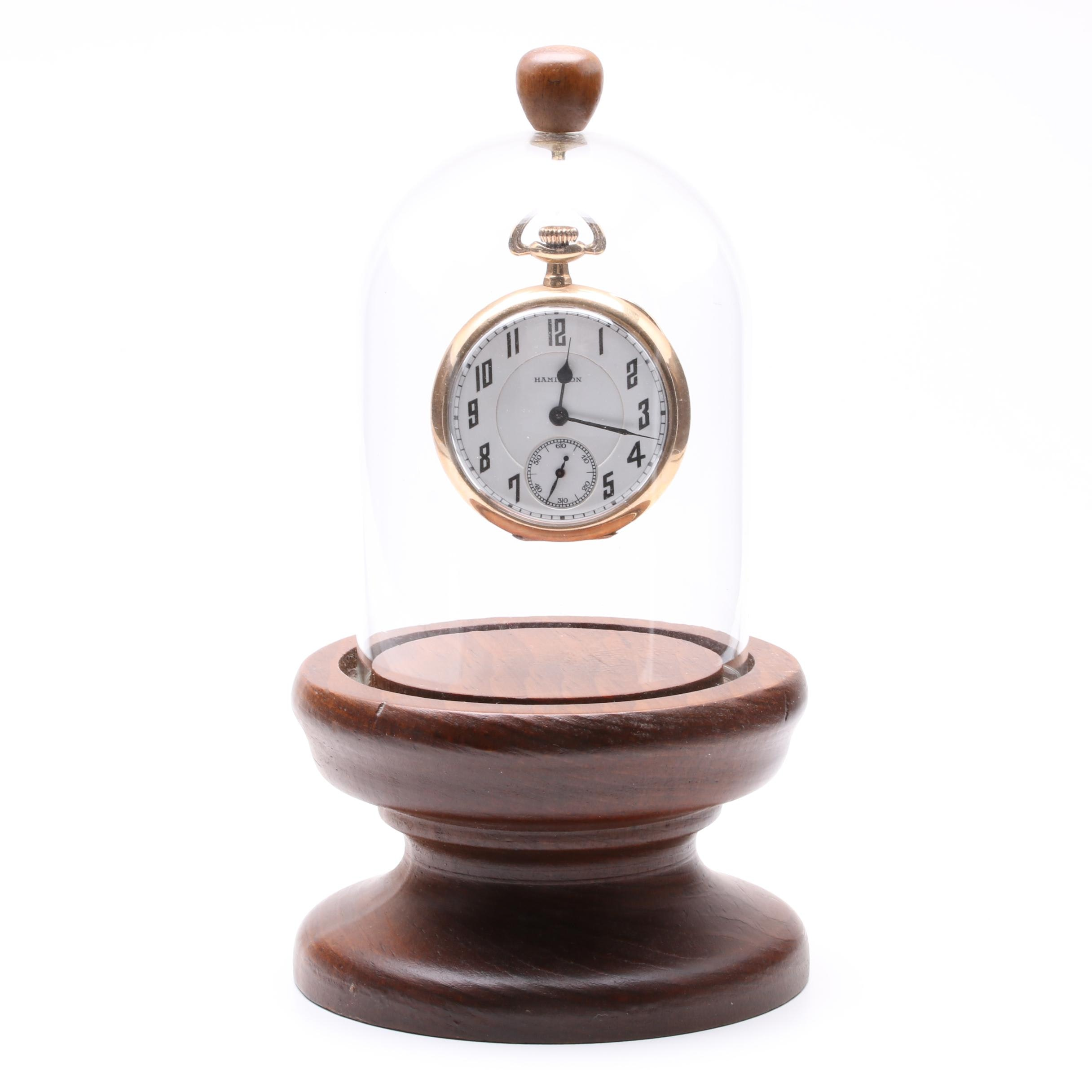 Hamilton Gold-Filled Pocket Watch with Wooden Display Stand