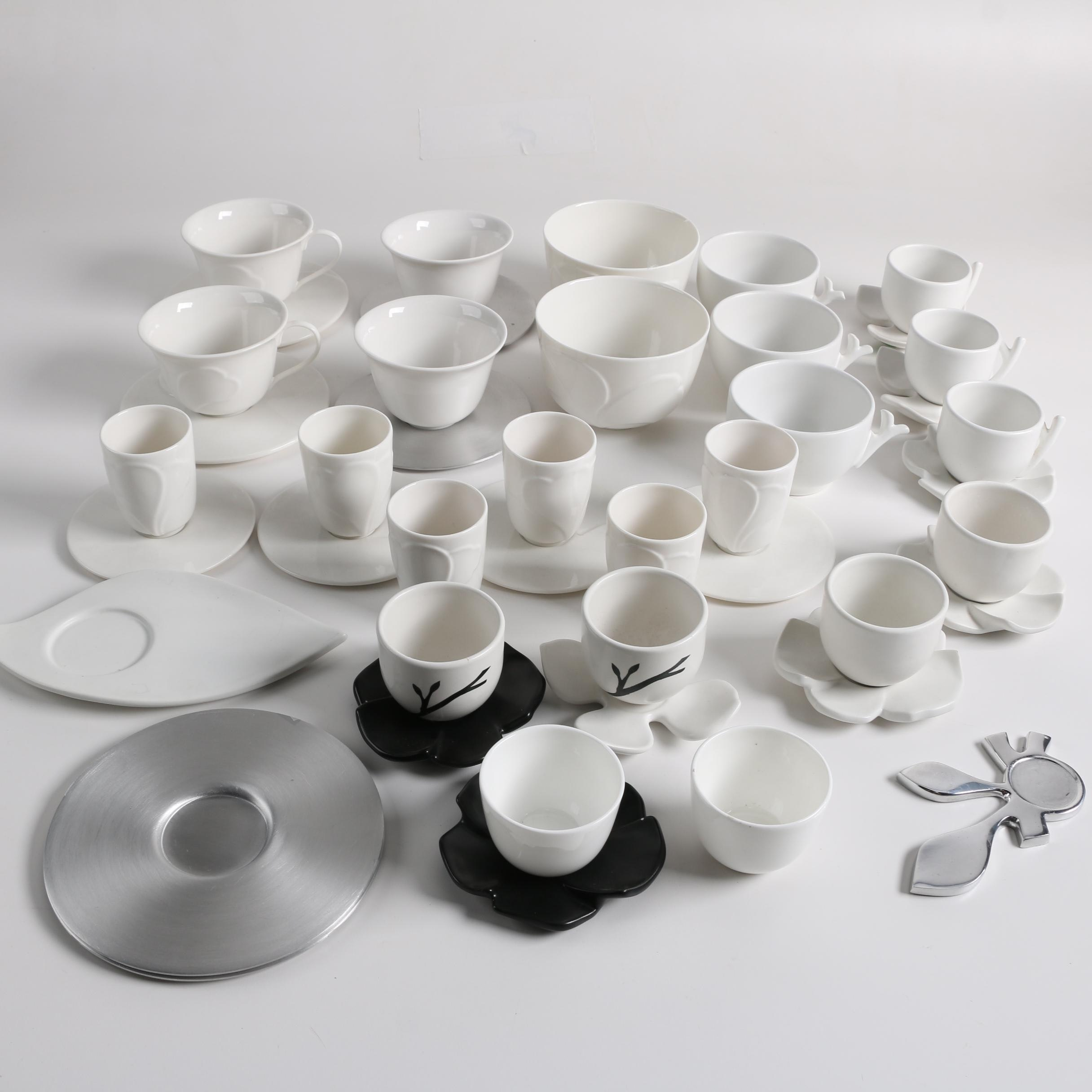Contemporary Blue Leaves Ceramic Tea Bowls, Teacups, Saucers, and Other Items