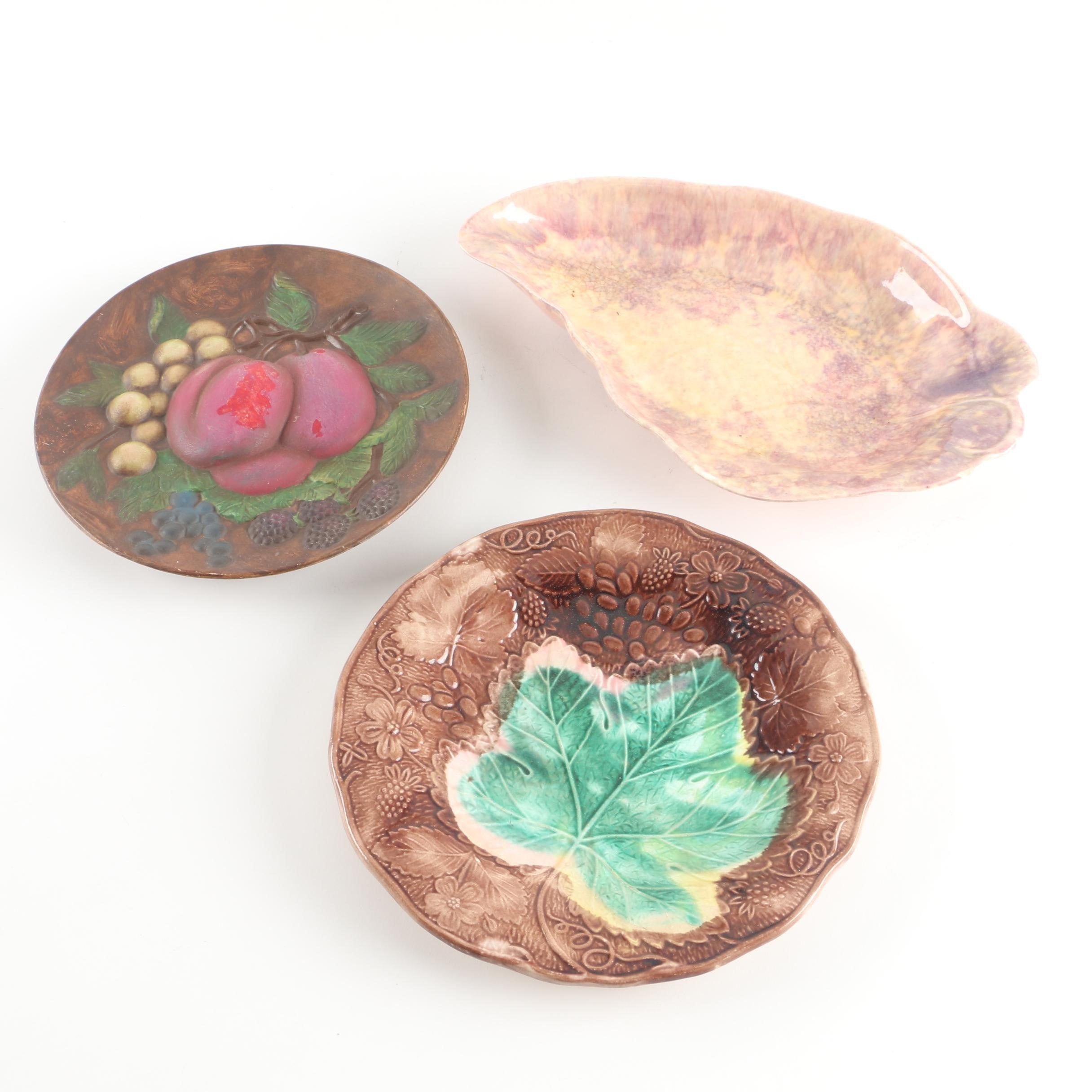 Art Pottery Serveware Featuring Walker Ceramic Leaf Dish and Majolica Plate