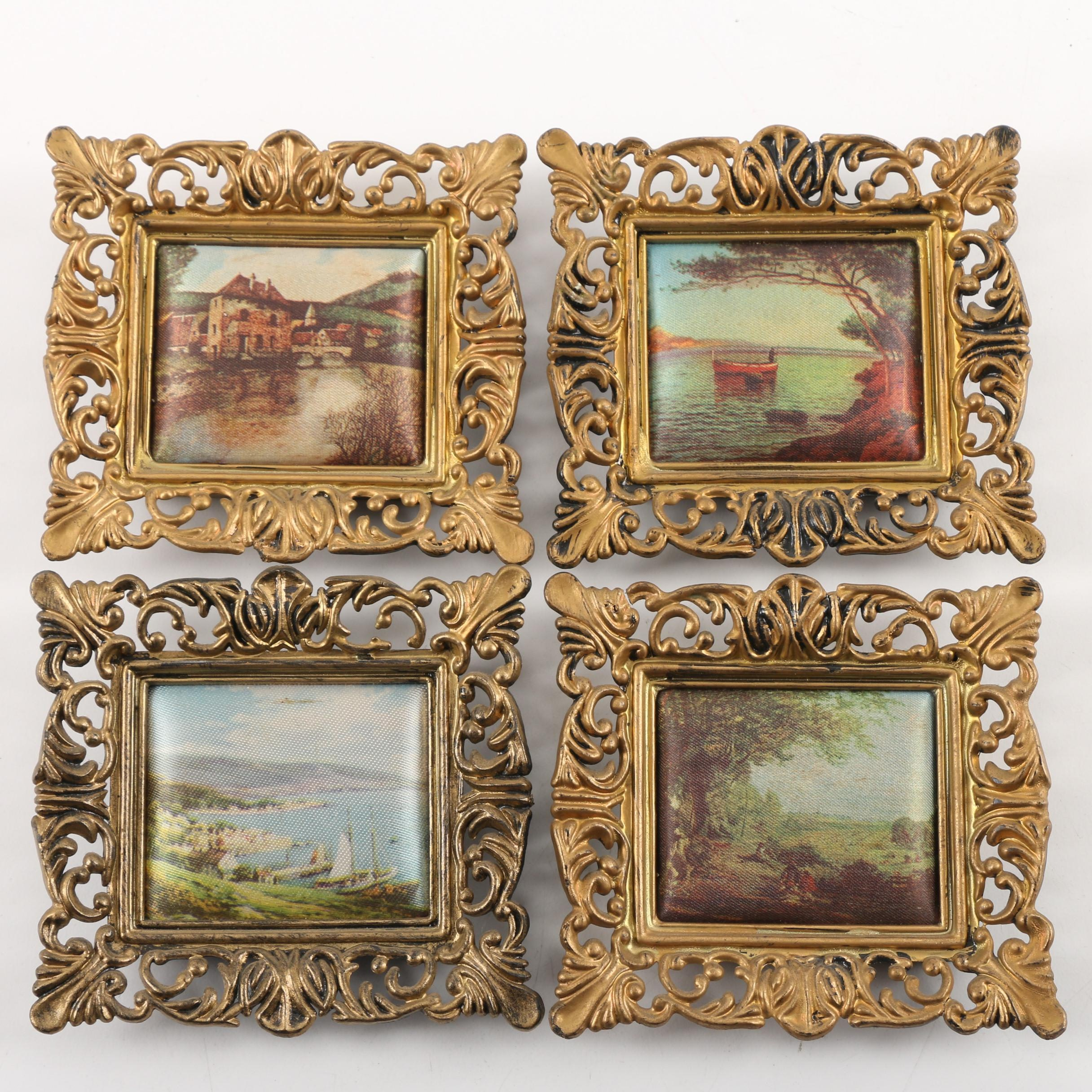 Vintage Padded Printed Fabric in Plastic Frames