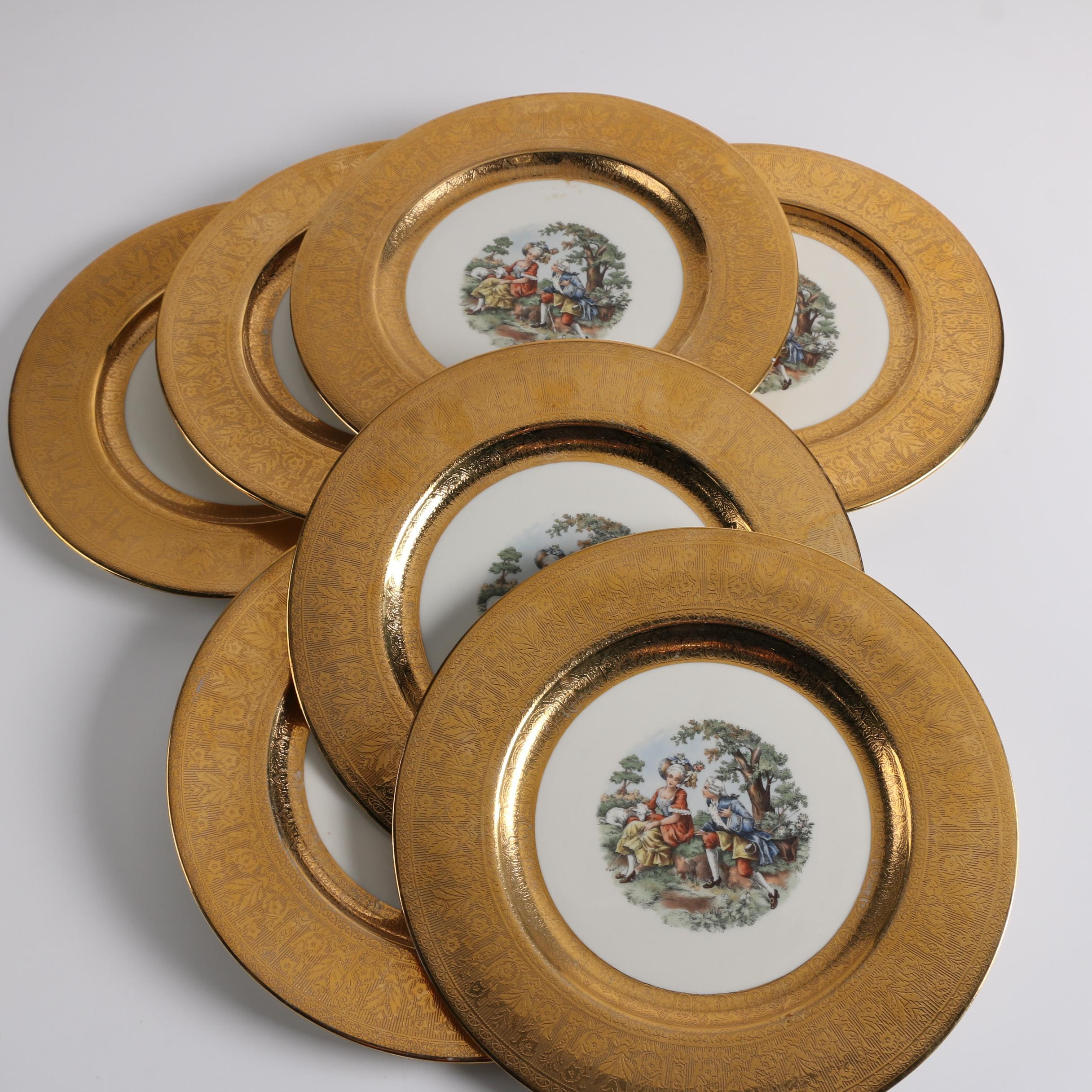 Vintage La Petite Porcelain Plates with Gold Encrusted Rims
