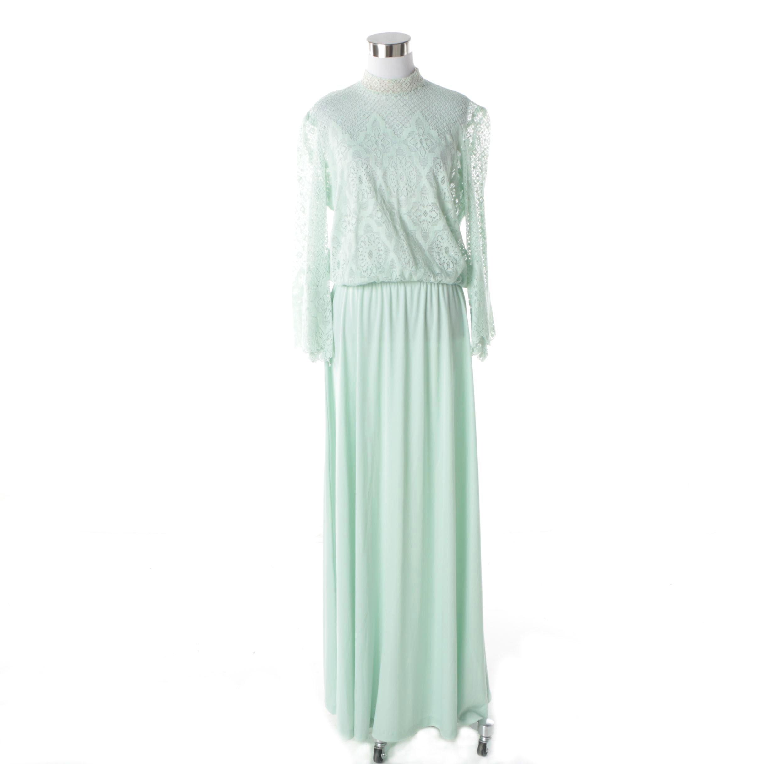1970s Vintage Lilli Diamond Aqua Lace Bell Sleeve Blouse and Maxi Skirt Set