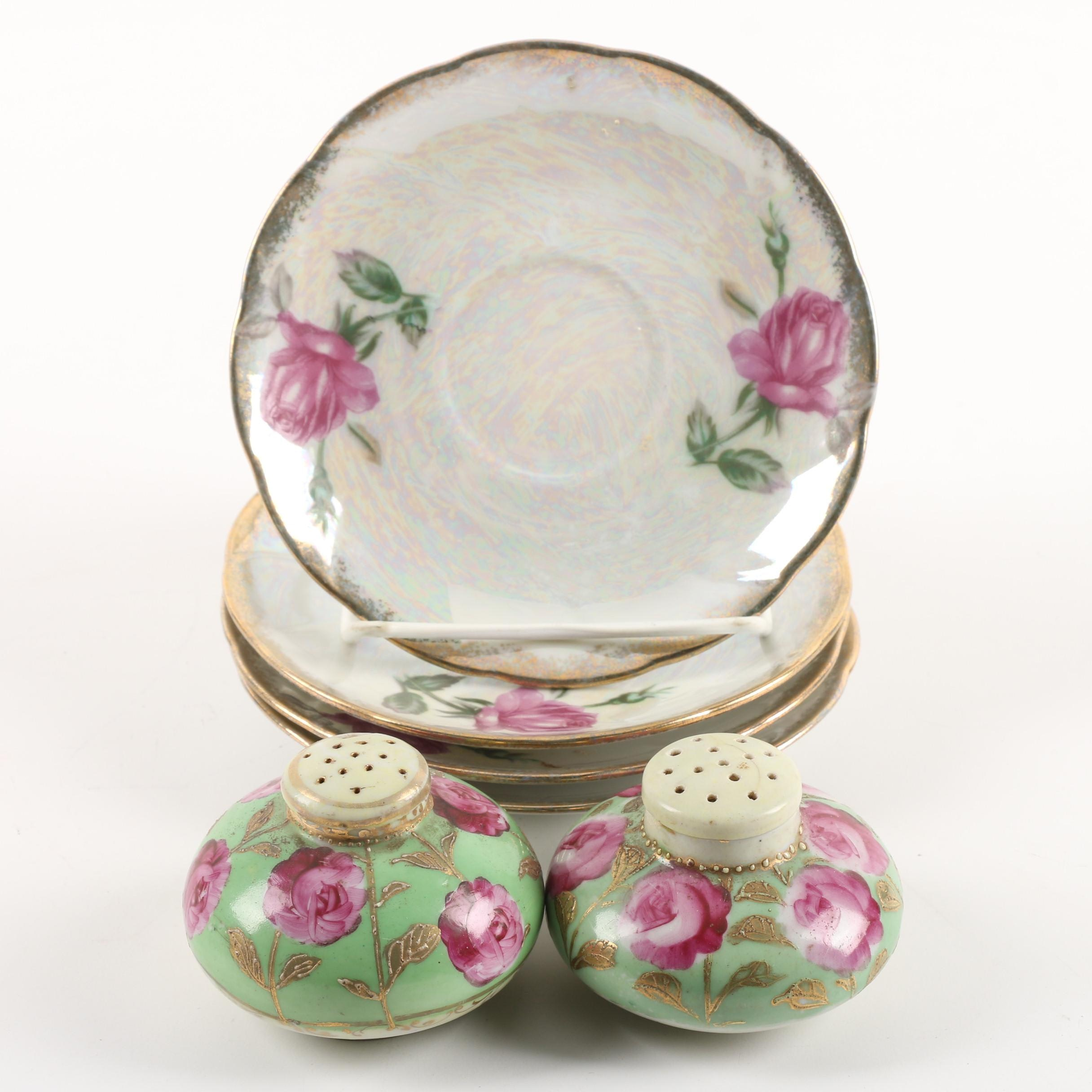 Vintage Hand-Painted Salt and Pepper Shakers with Iridescent Saucers
