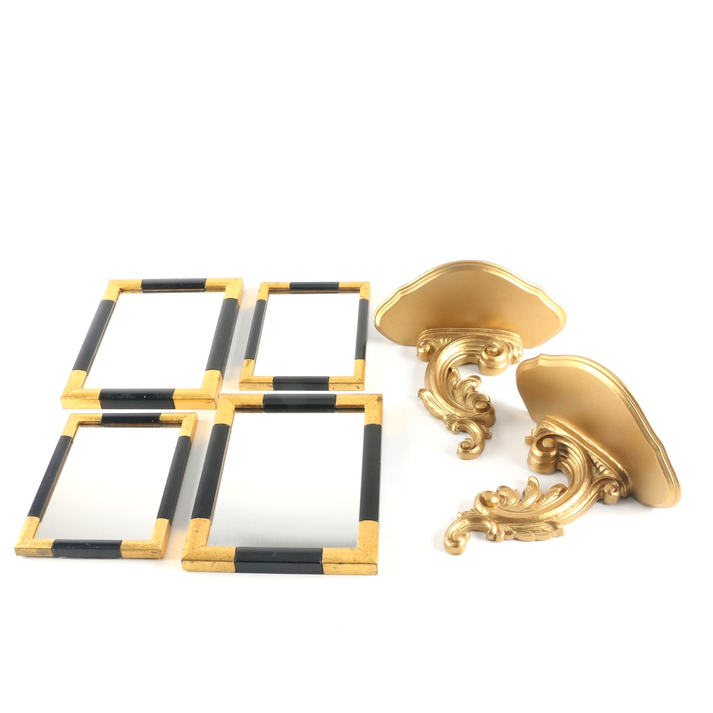 Syracuse Ornamental Co. Giltwood Wall Brackets with Accent Mirrors