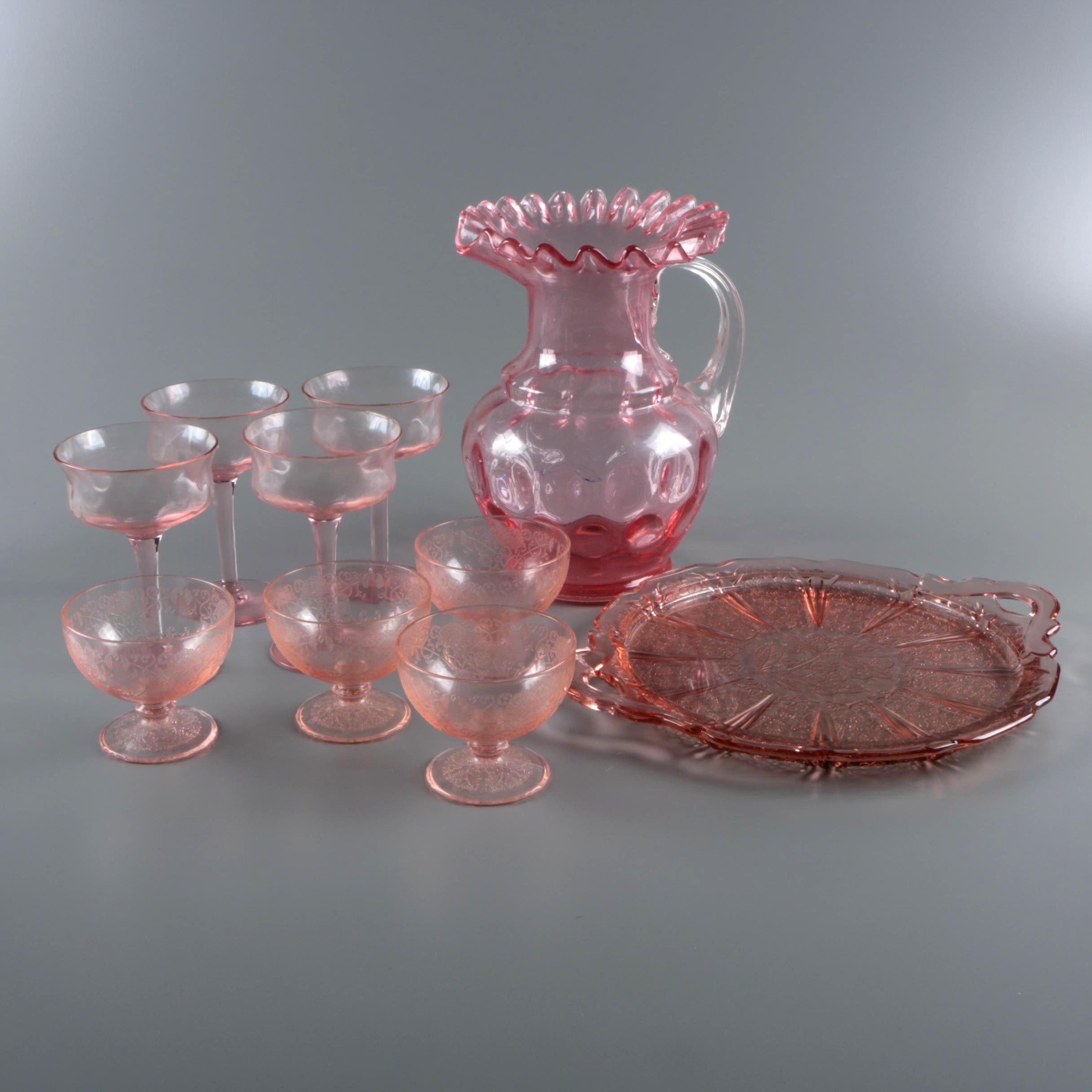 "Fenton Style Pitcher and Pink Depression Glass Hazel-Atlas ""Florentine"" Sherbets"