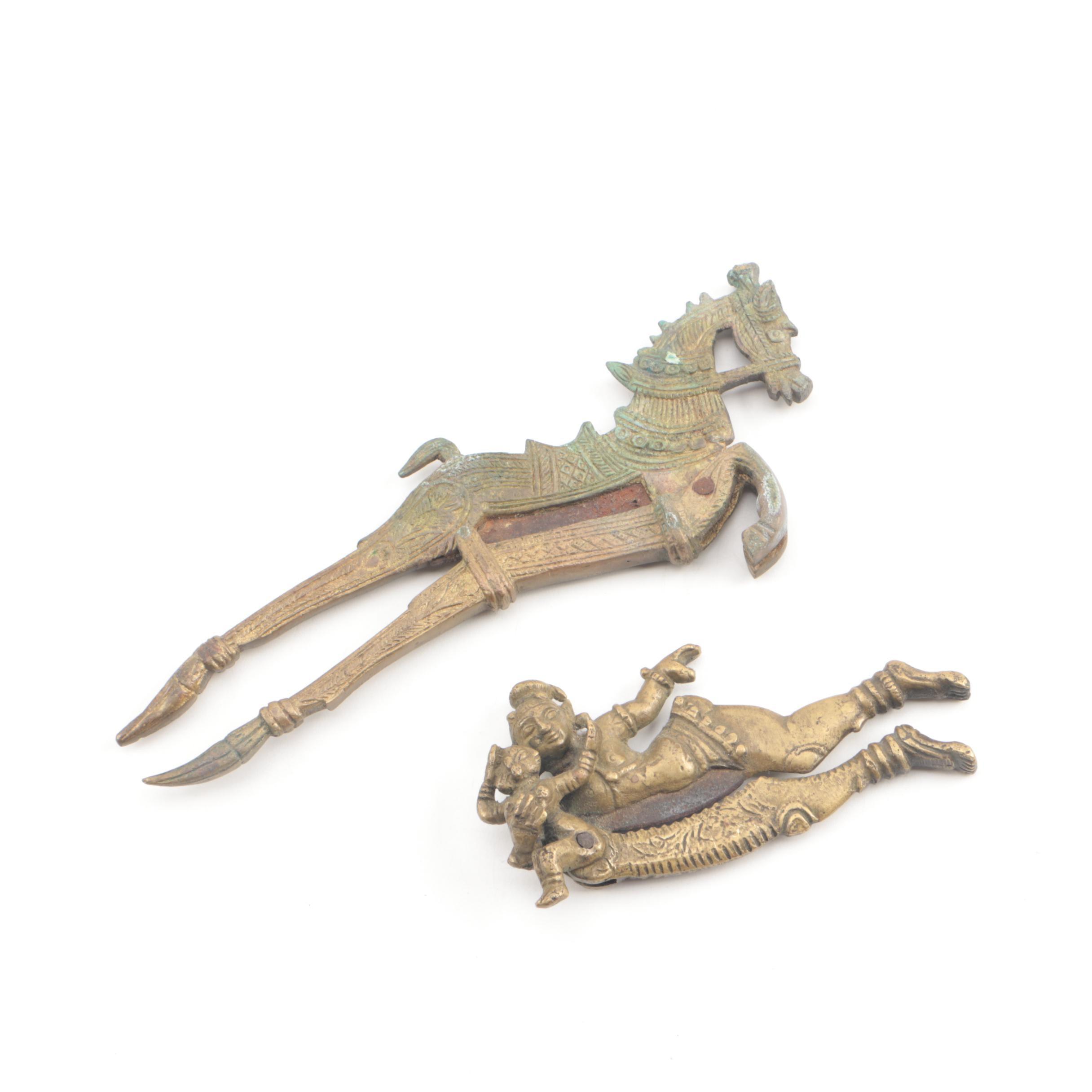 Vintage South Asian Figural Brass Nutcrackers