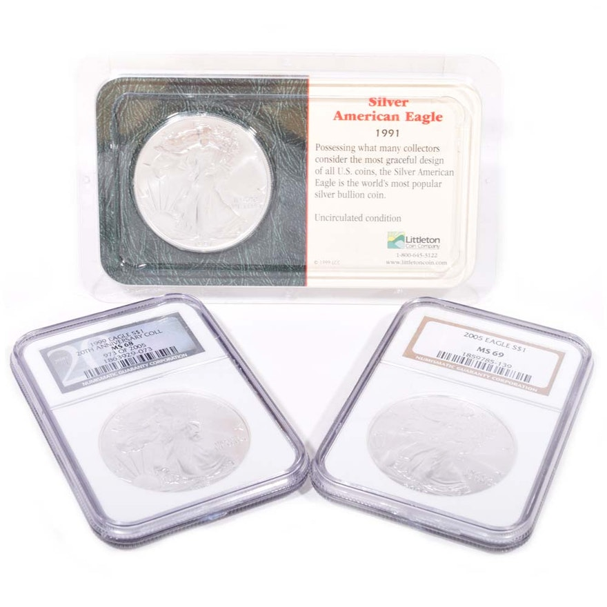 1991 1999 2005 American Silver Eagle Dollars Featuring NGC Graded