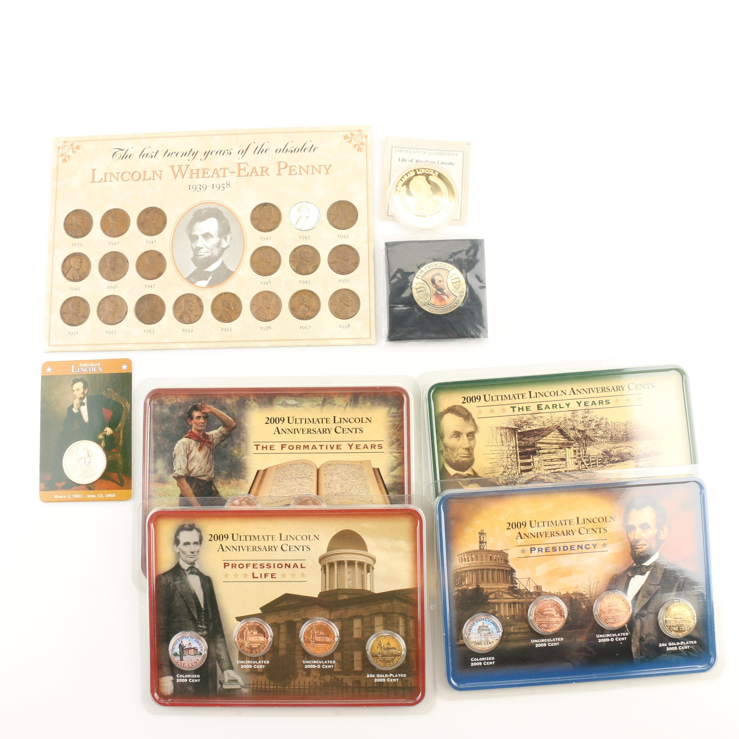 Assortment of Abraham Lincoln-Related U.S. Coins